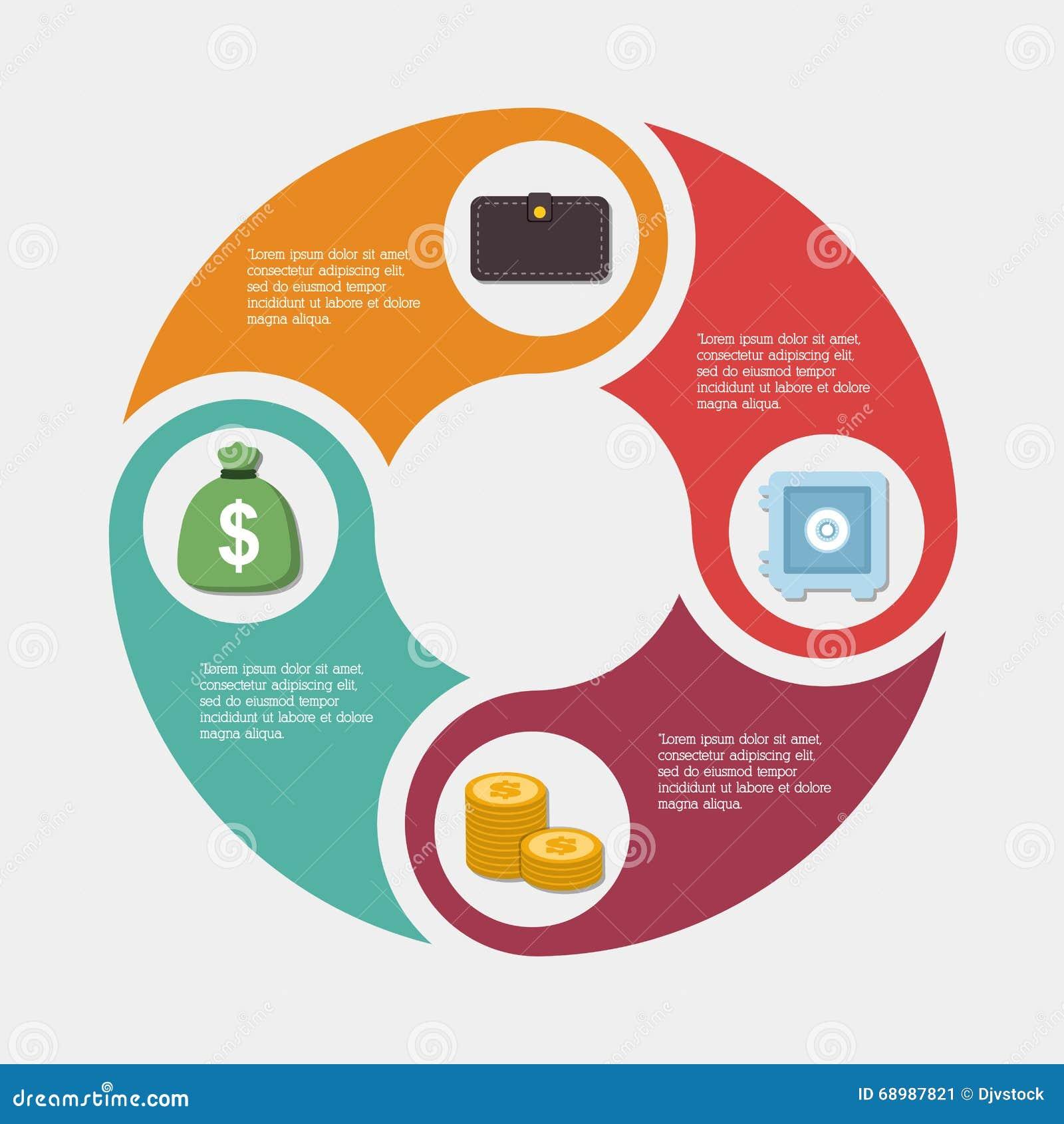 Diseño del dinero de Infographics, ejemplo del vector