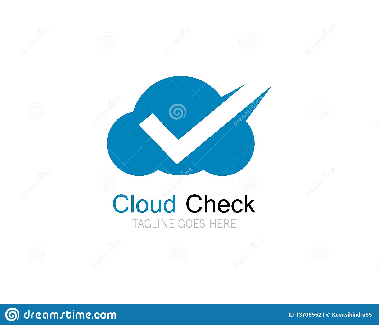 Diseño del ejemplo del icono del logotipo de la marca de verificación de la nube