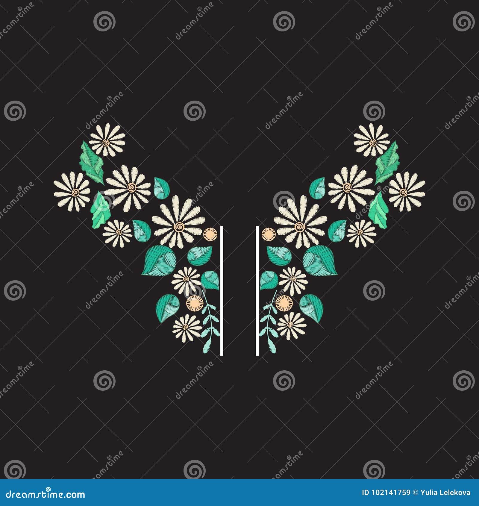 Diseño del escote del bordado del vector Estampado de flores coloreado para la impresión del cuello con las flores y las hojas bo