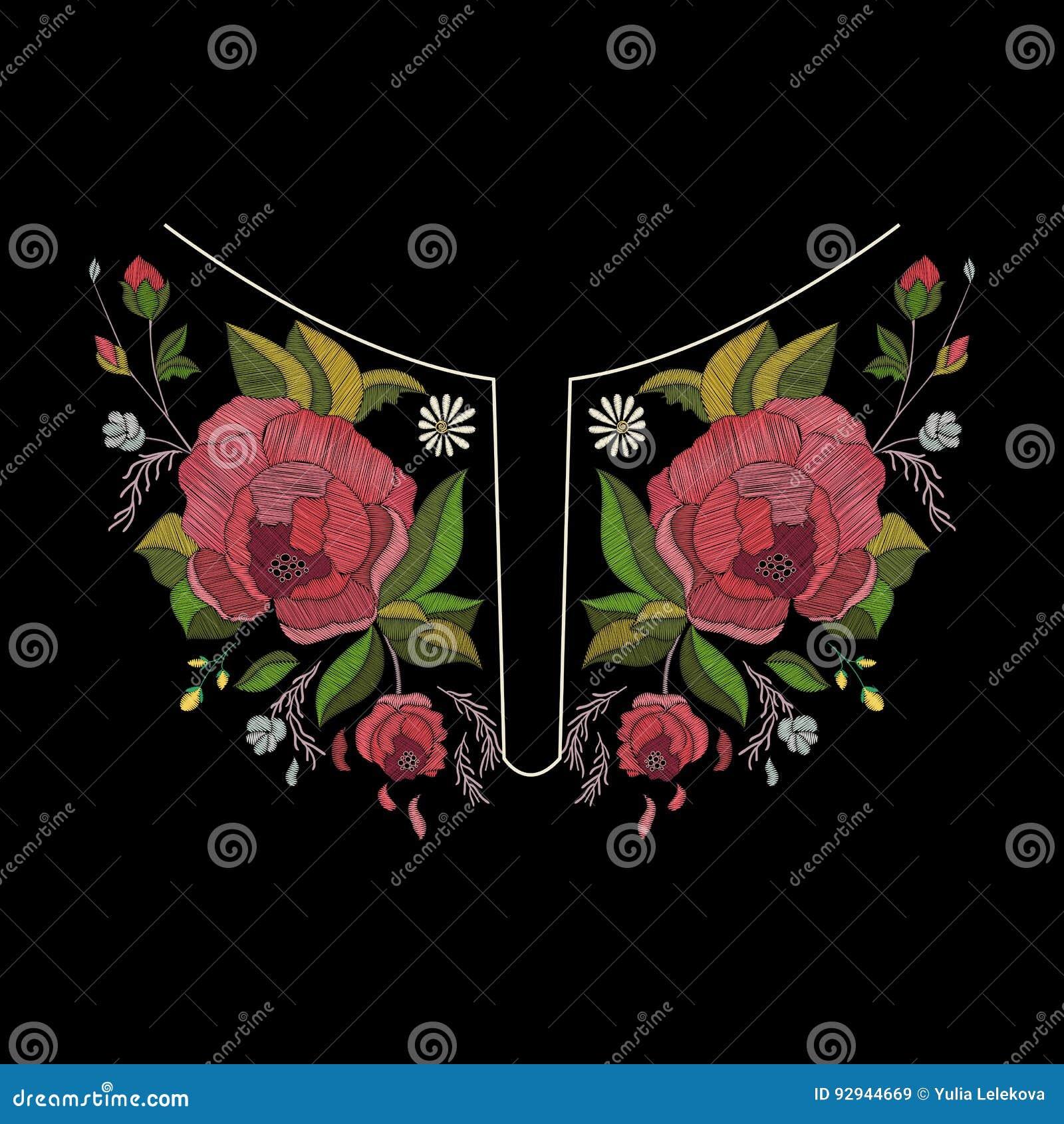 Diseño del escote del bordado del vector para la moda Impresión del cuello de las flores y de las hojas Adorno bordado pecho