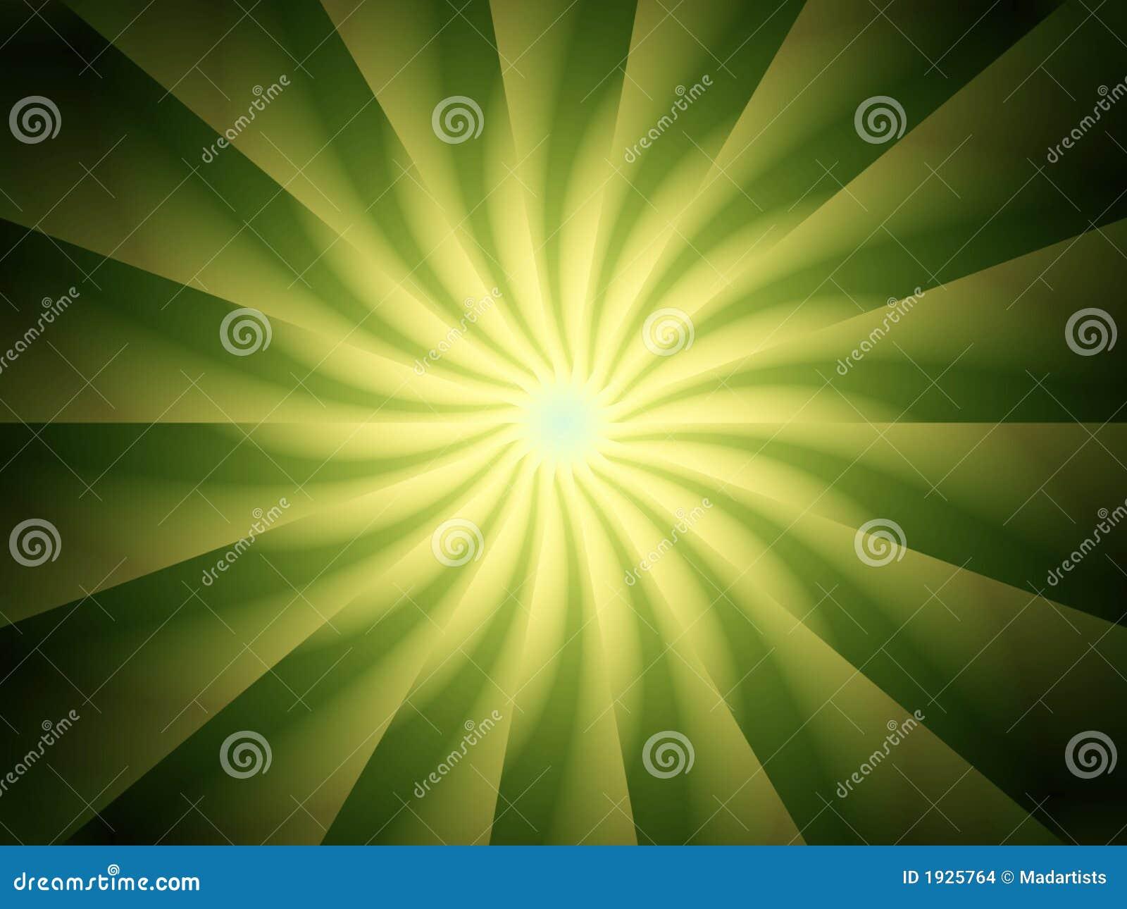 Diseño del espiral de los rayos de la luz verde
