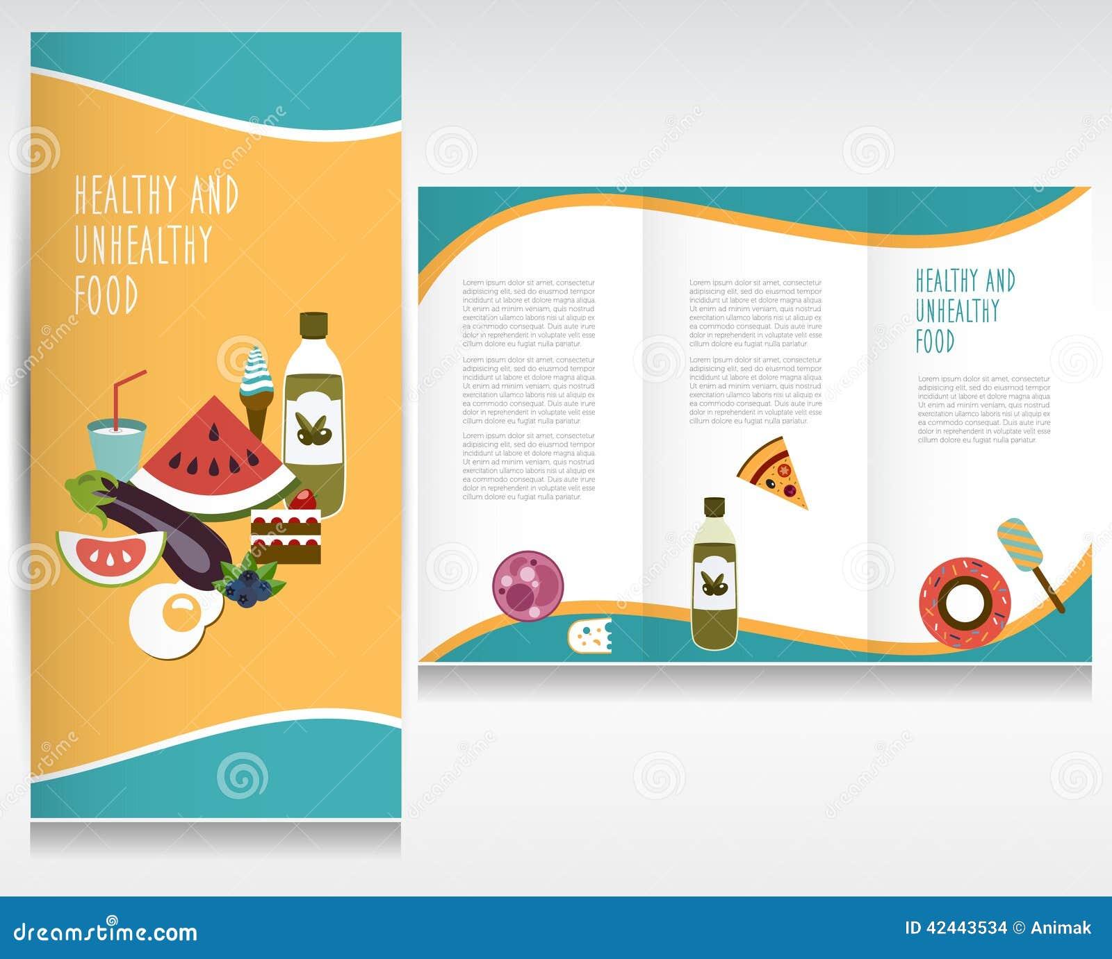 Diseño del folleto de la comida sana