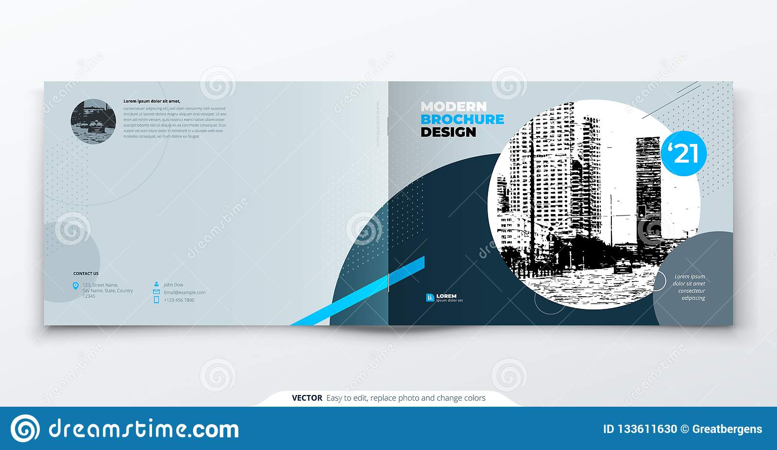 Diseño del folleto del paisaje Folleto gris azul de la plantilla del negocio corporativo, informe, catálogo, revista Disposición