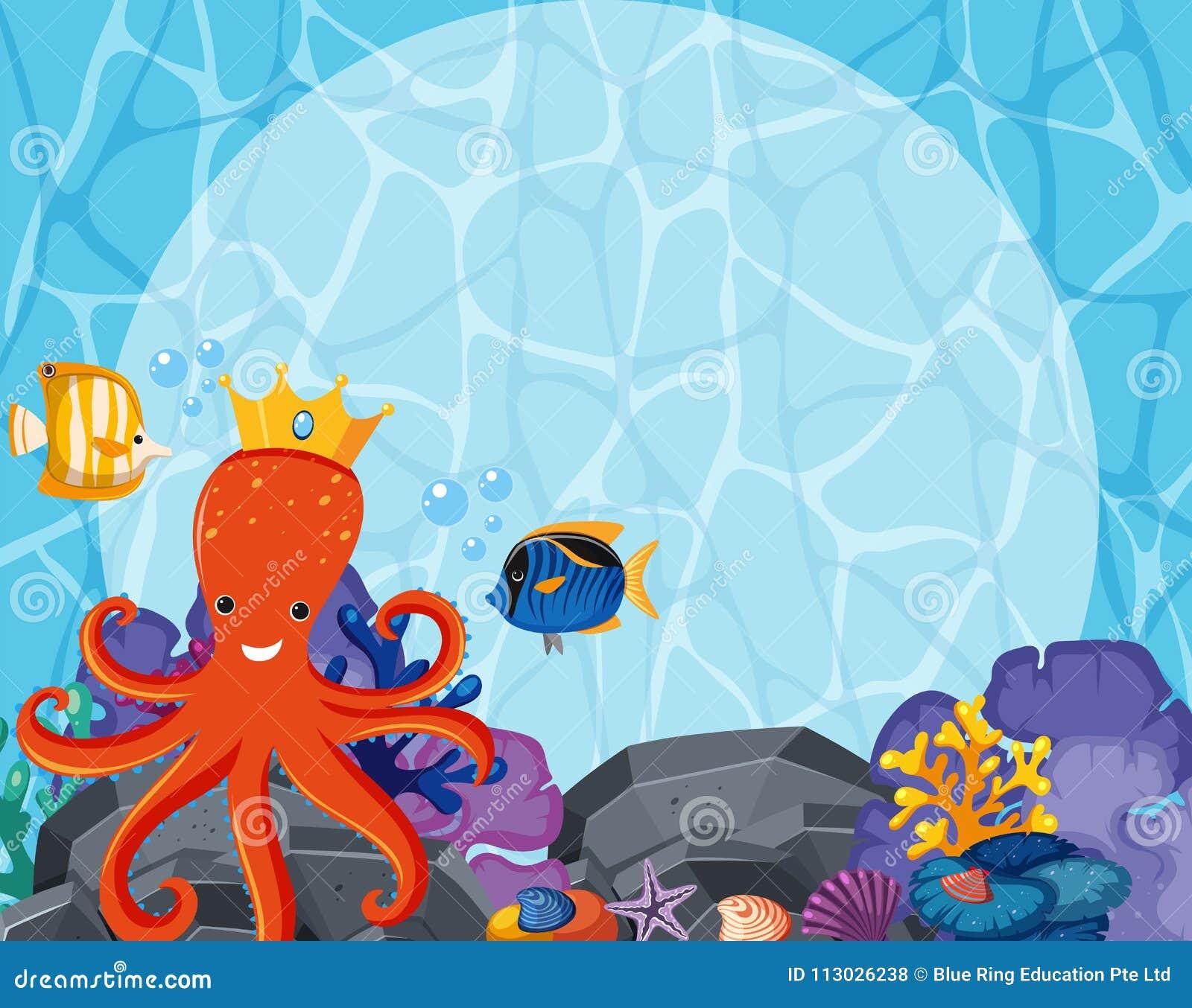 Diseño del fondo con el pulpo y los pescados subacuáticos