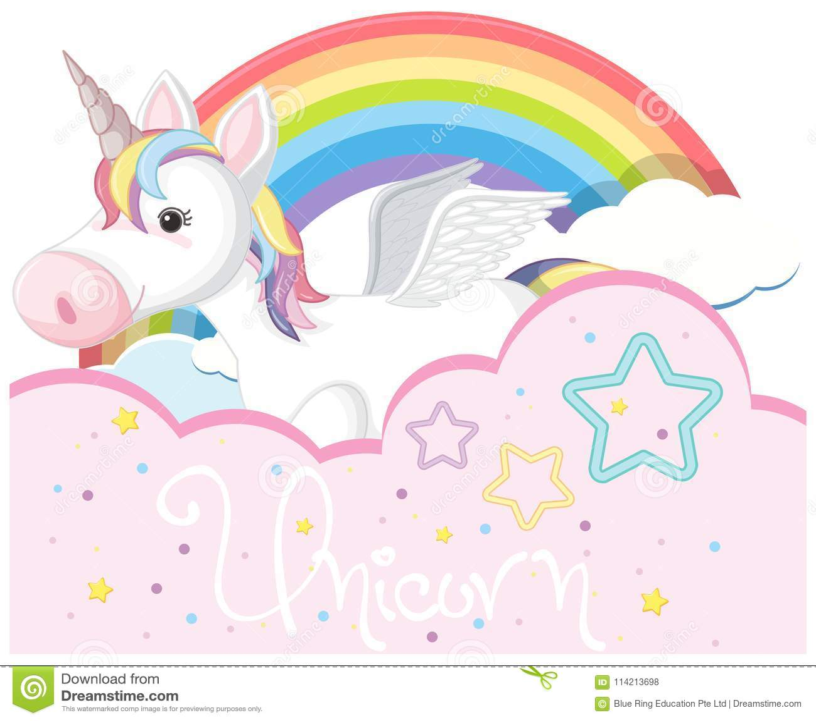 Diseño Del Rainbow Warrior Iii: Diseño Del Fondo Con Unicornio Lindo Y El Arco Iris