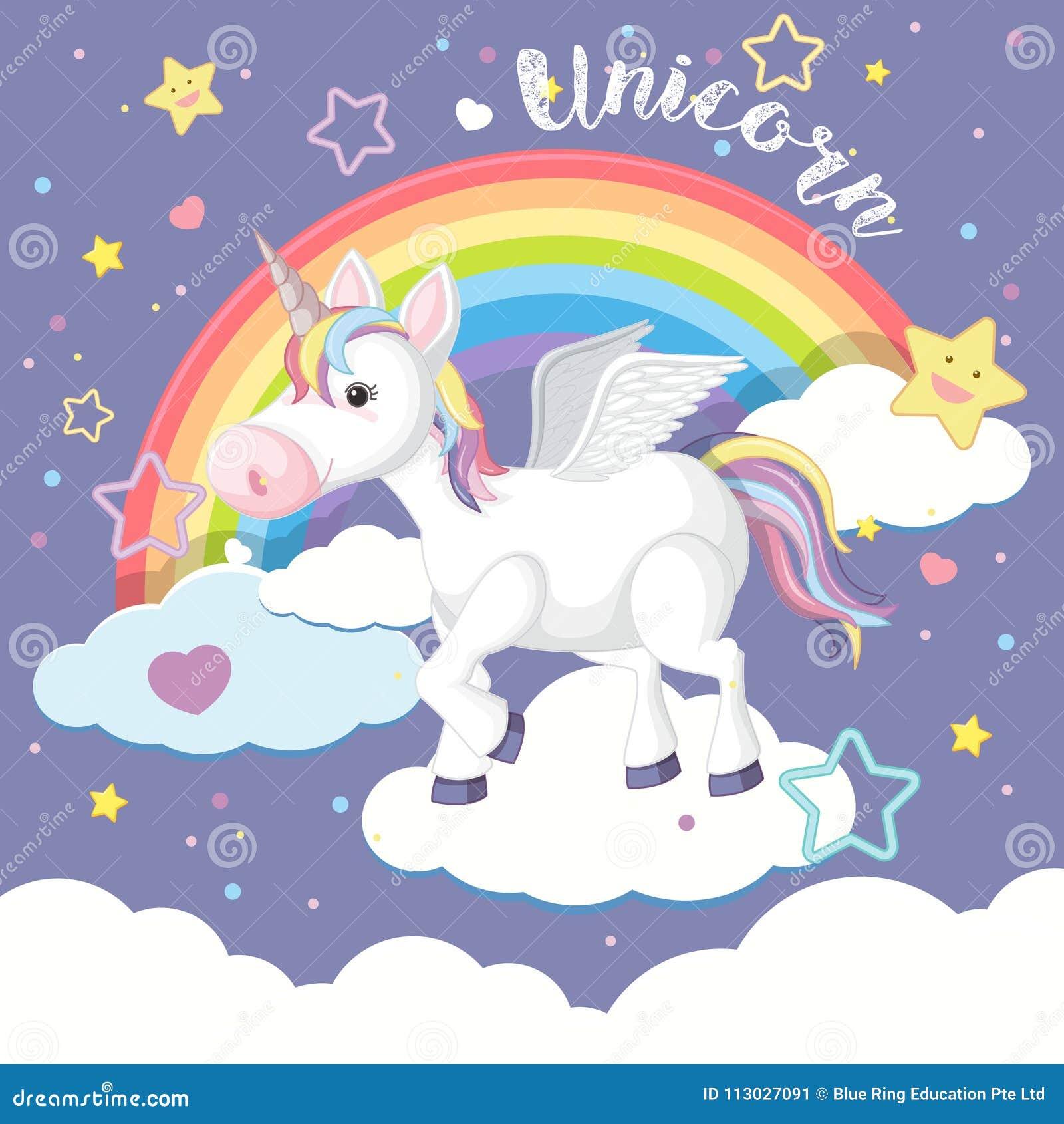 Diseño del fondo con unicornio y el arco iris