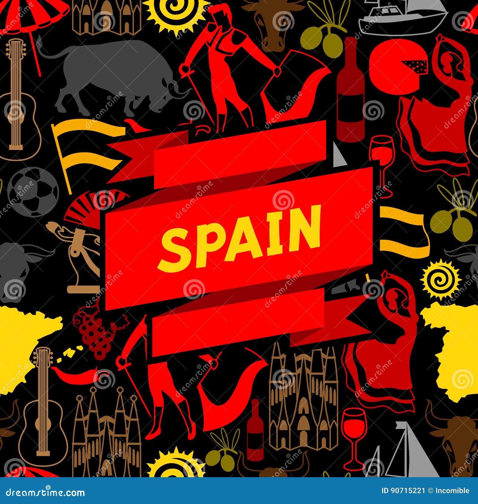 98469bcdc68e6 Diseño del fondo de España Símbolos y objetos tradicionales españoles