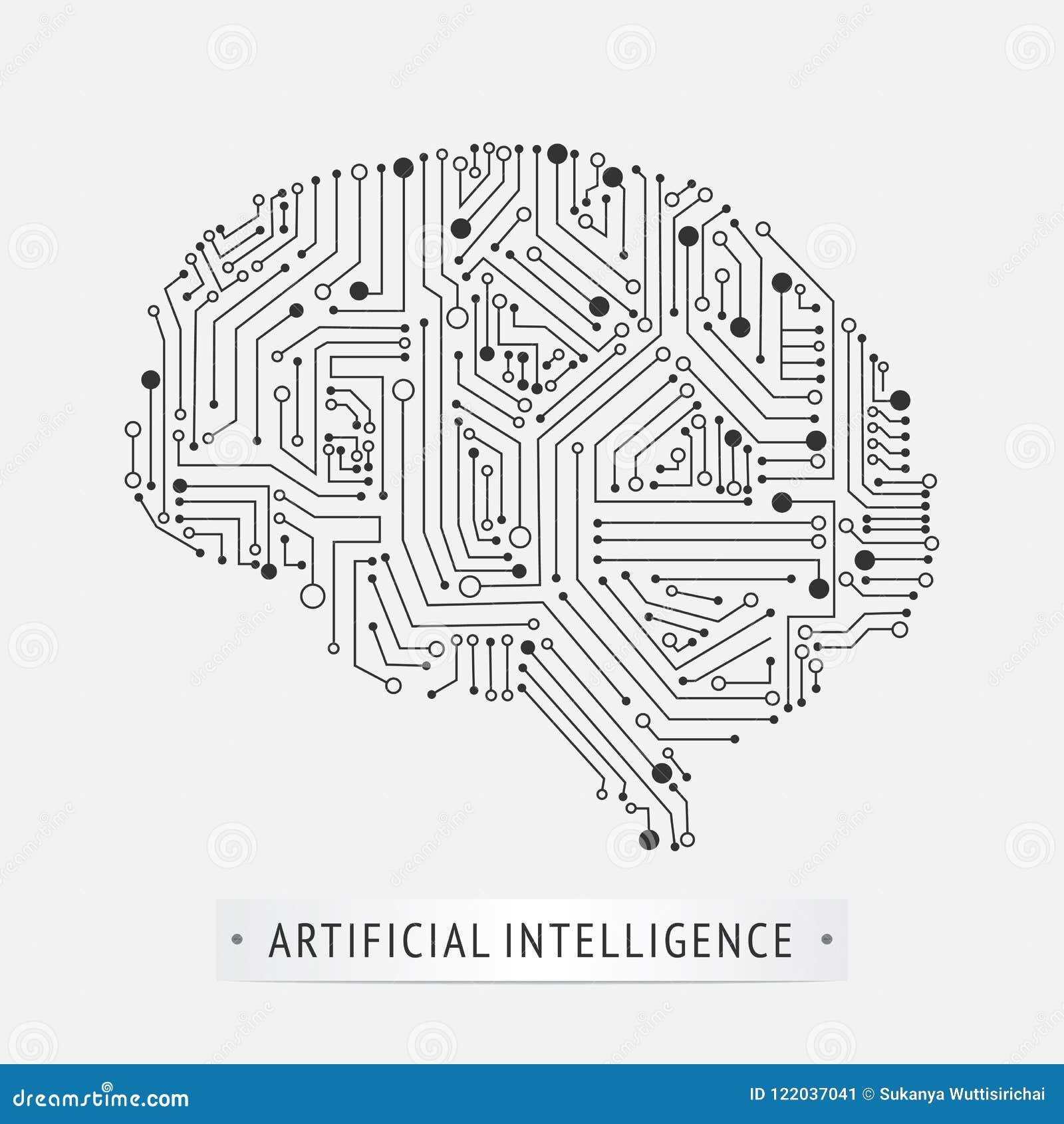 Diseño del icono de la inteligencia artificial del cerebro