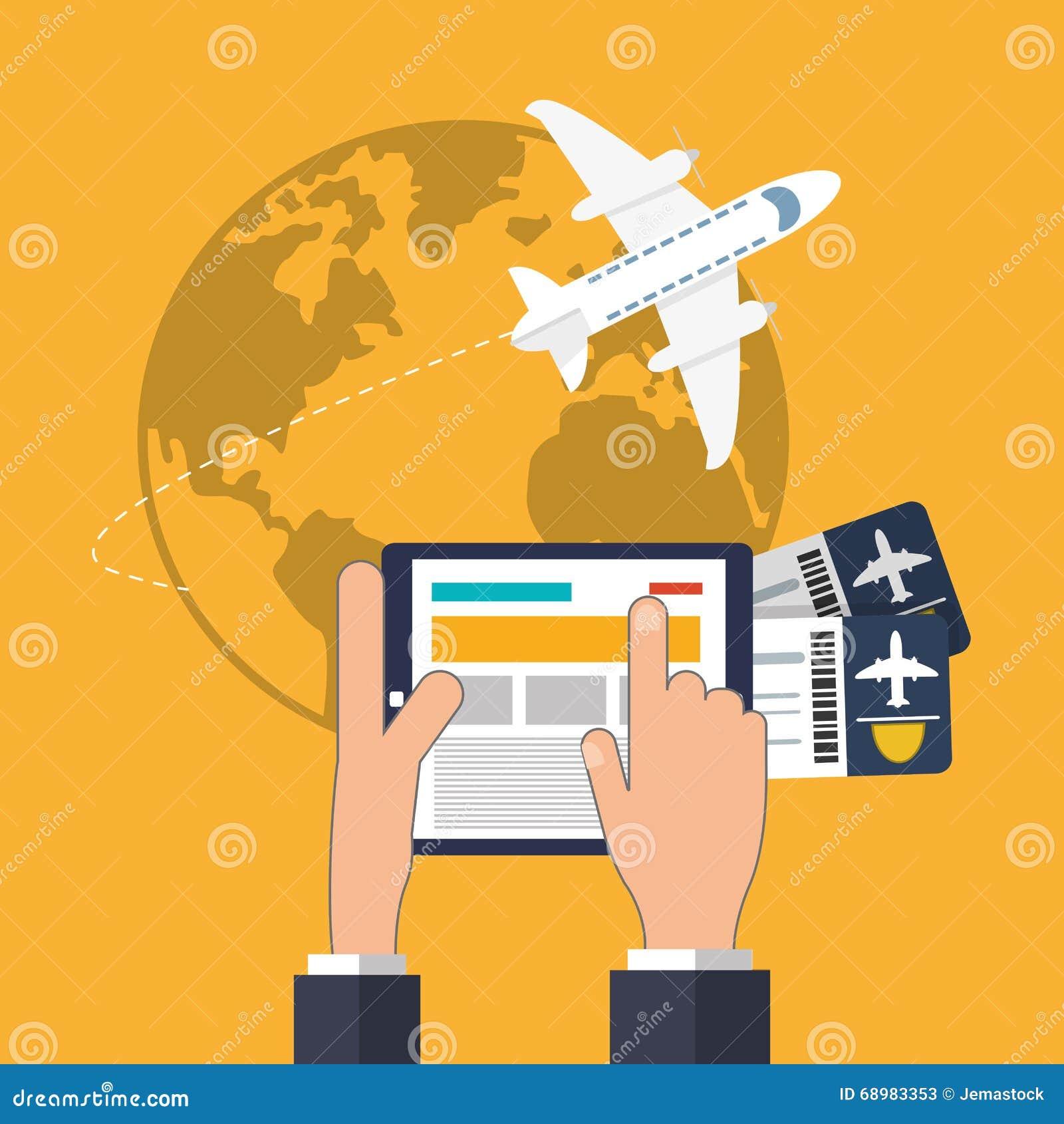 Diseño del icono de la tableta y del viaje