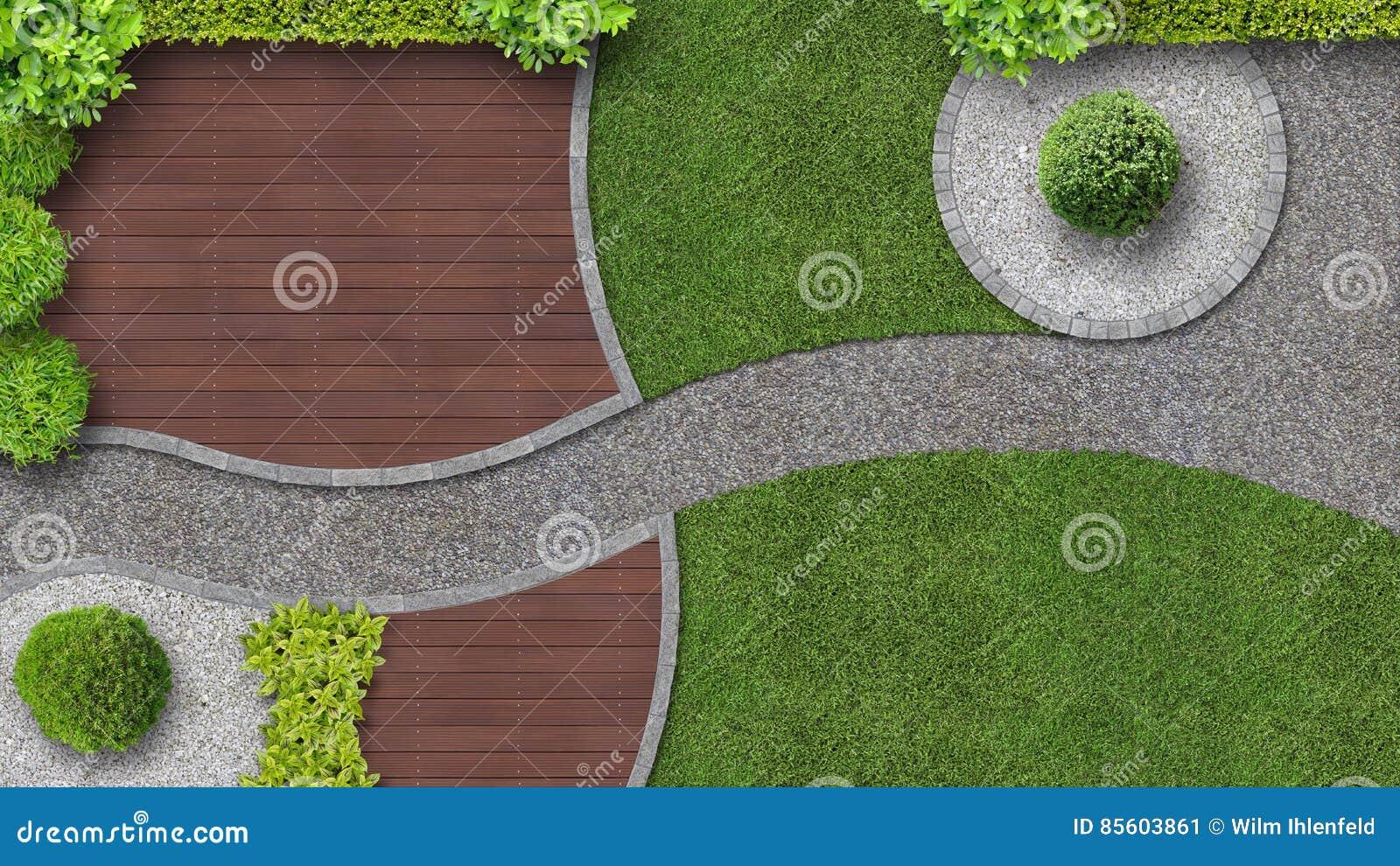 Diseño Del Jardín En La Visión Superior Con La Terraza