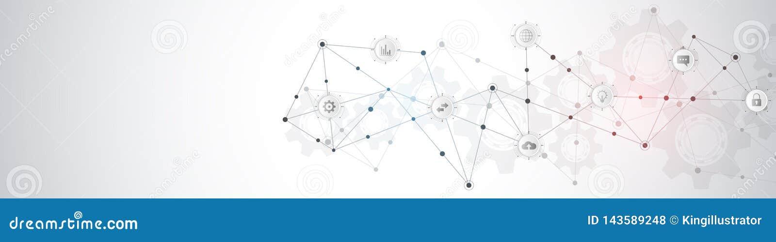 Diseño del jefe o de la bandera de la página web con la formación técnica abstracta y puntos y líneas de conexión E