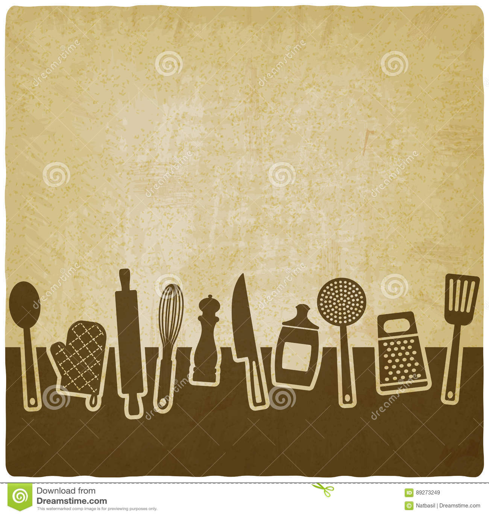 Dise o del libro del men o de la receta conjunto de - Utensilios de cocina de diseno ...