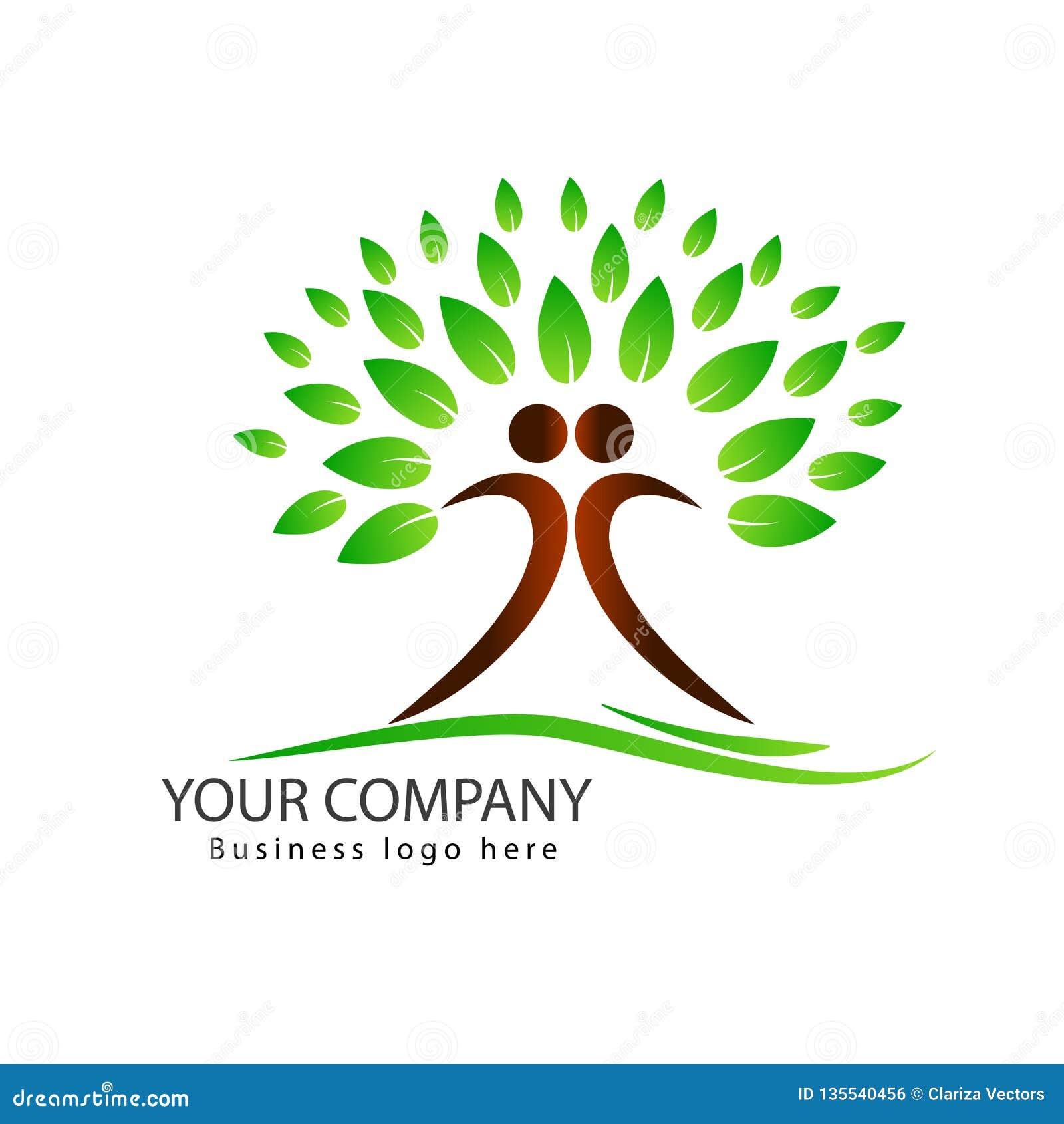 Diseño del logotipo del árbol de la gente con el árbol verde de los pares de las hojas