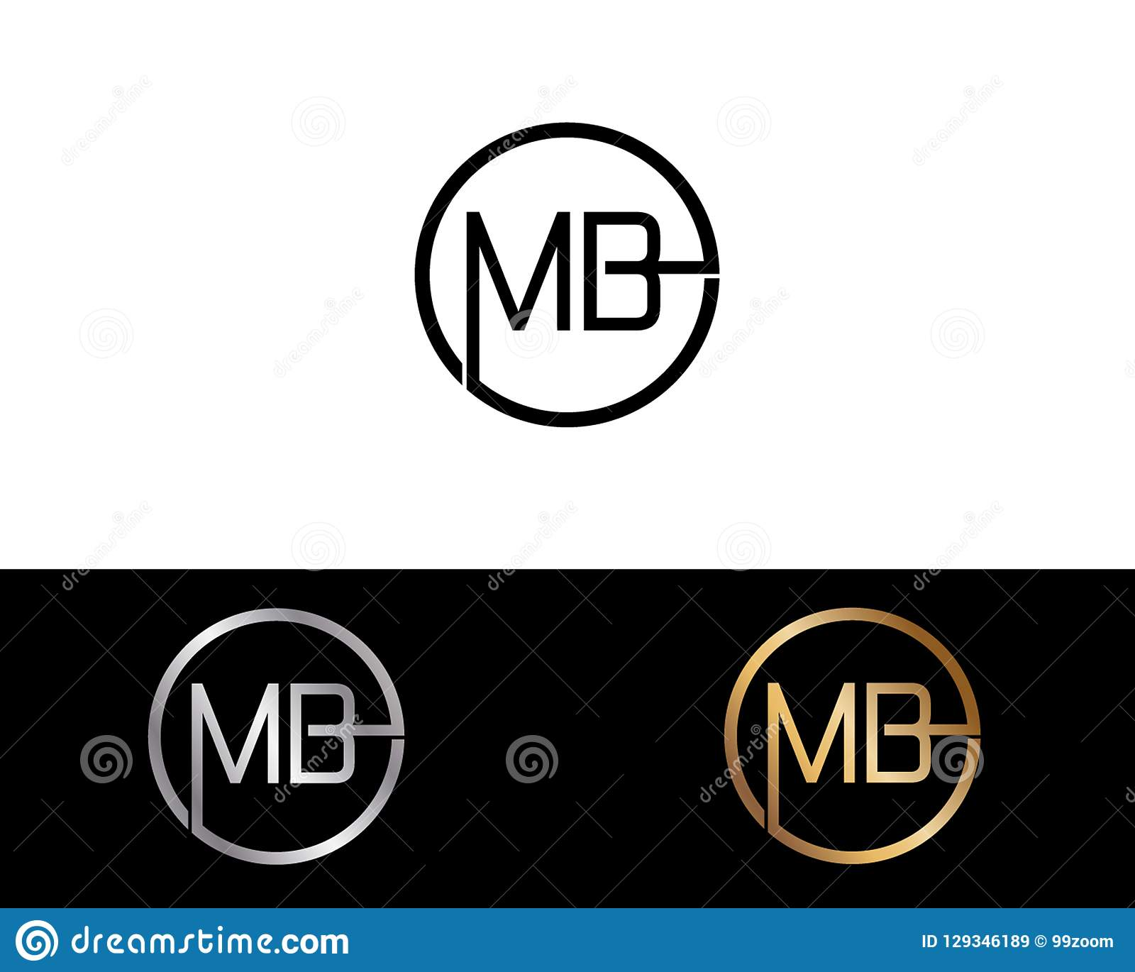 Diseño del logotipo de la letra de la forma del círculo del MB