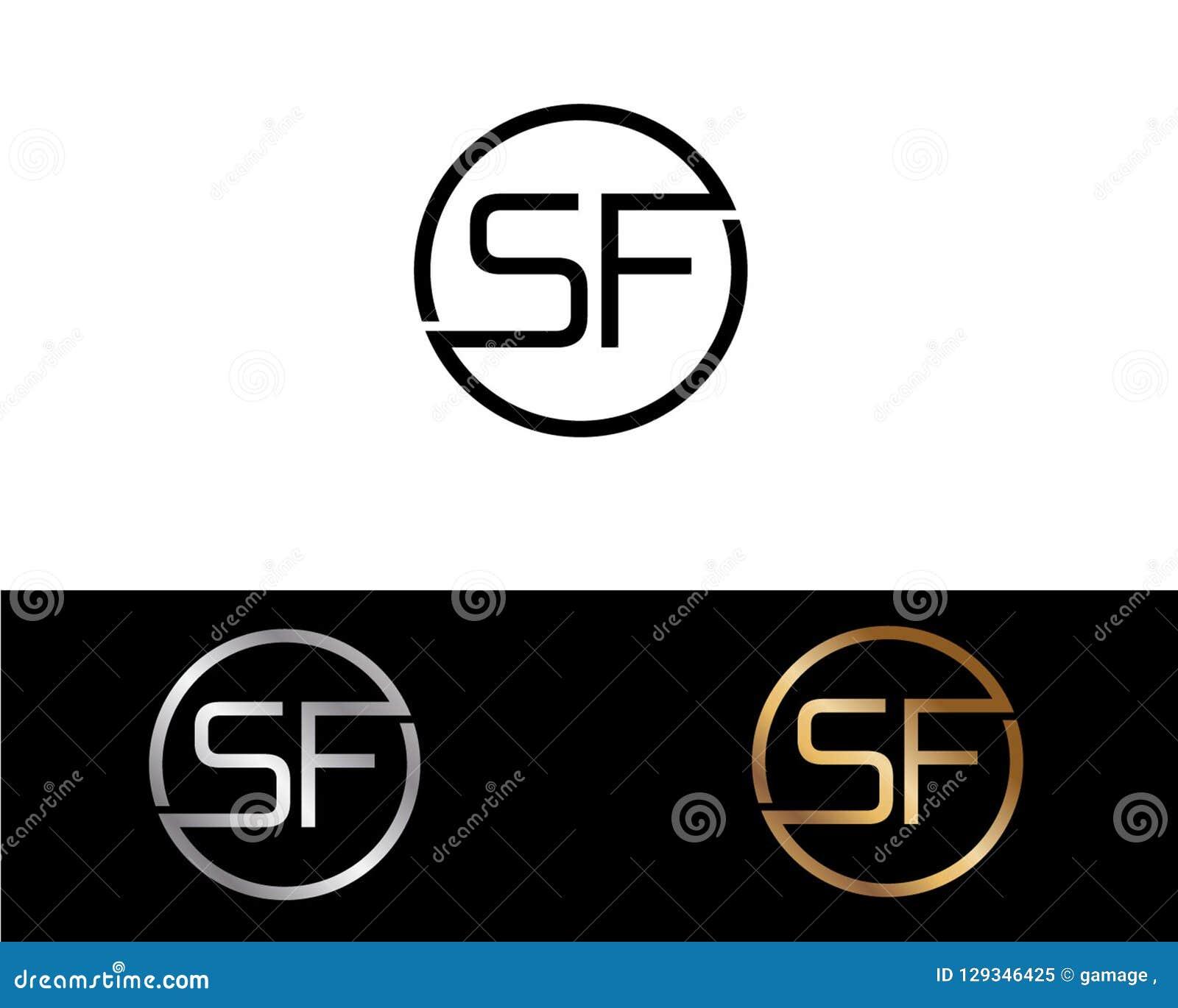 Diseño del logotipo de la letra de la forma del círculo de SF