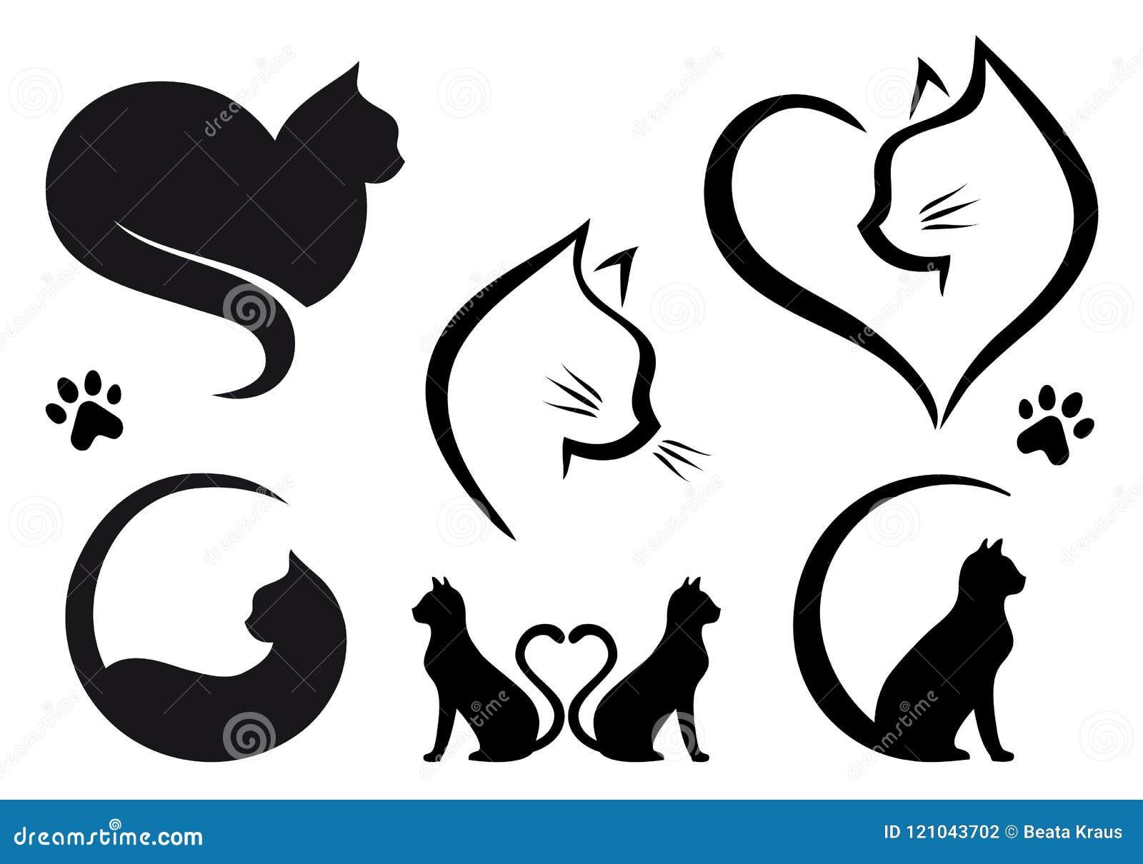 Diseño del logotipo del gato, sistema del vector