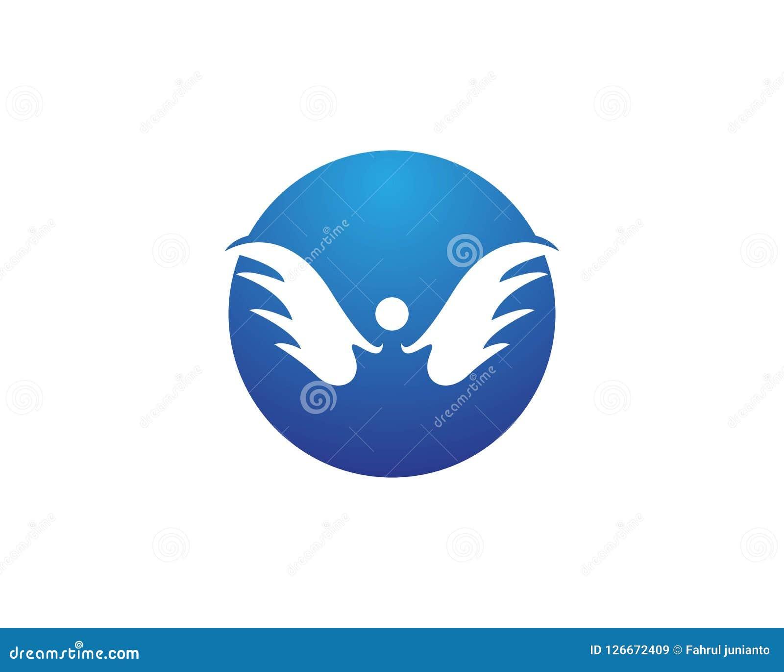 Diseño del logotipo del icono del ala Stock de ilustración