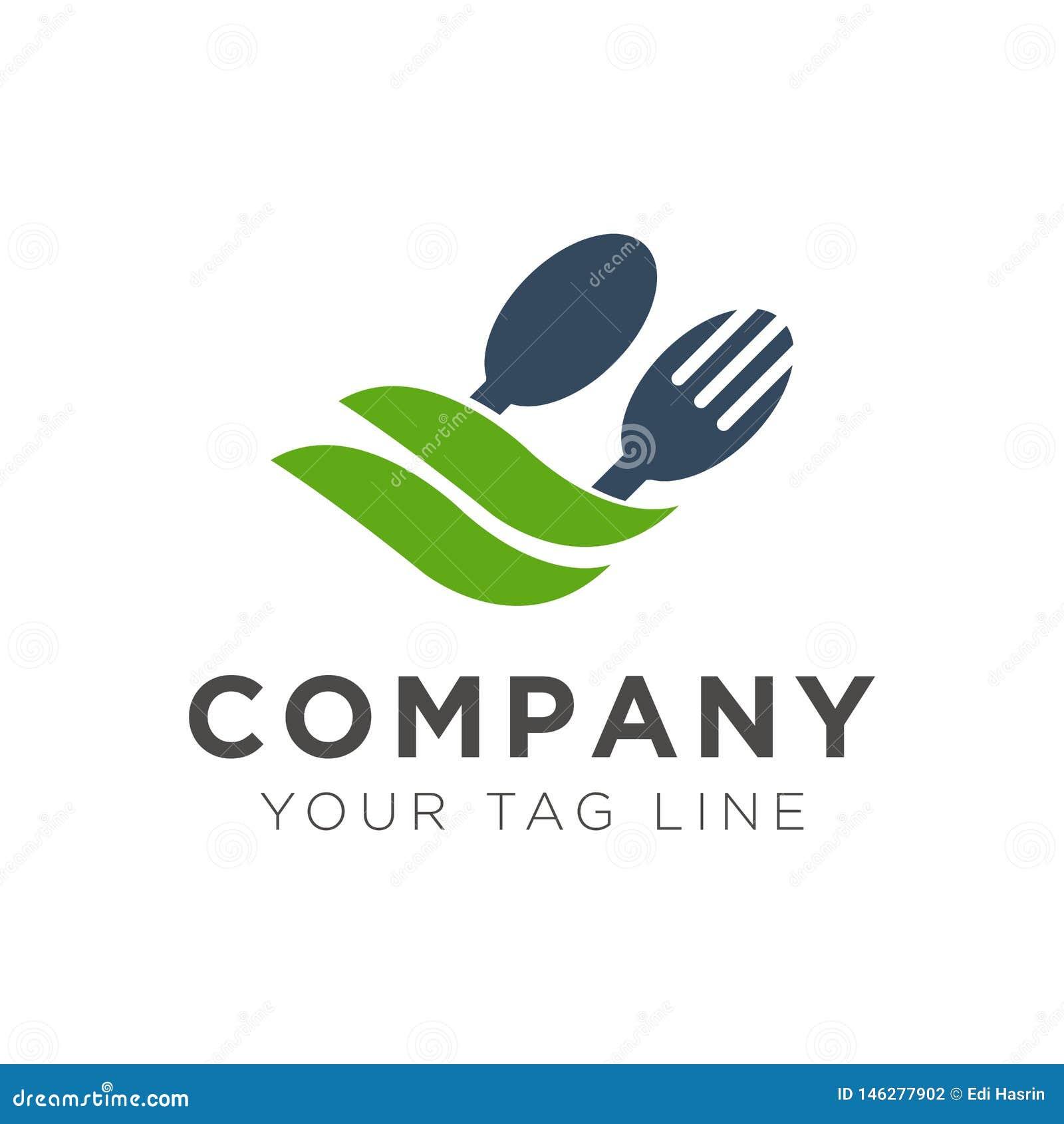 Diseño del logotipo del restaurante de la bifurcación y de la cuchara con la hoja verde