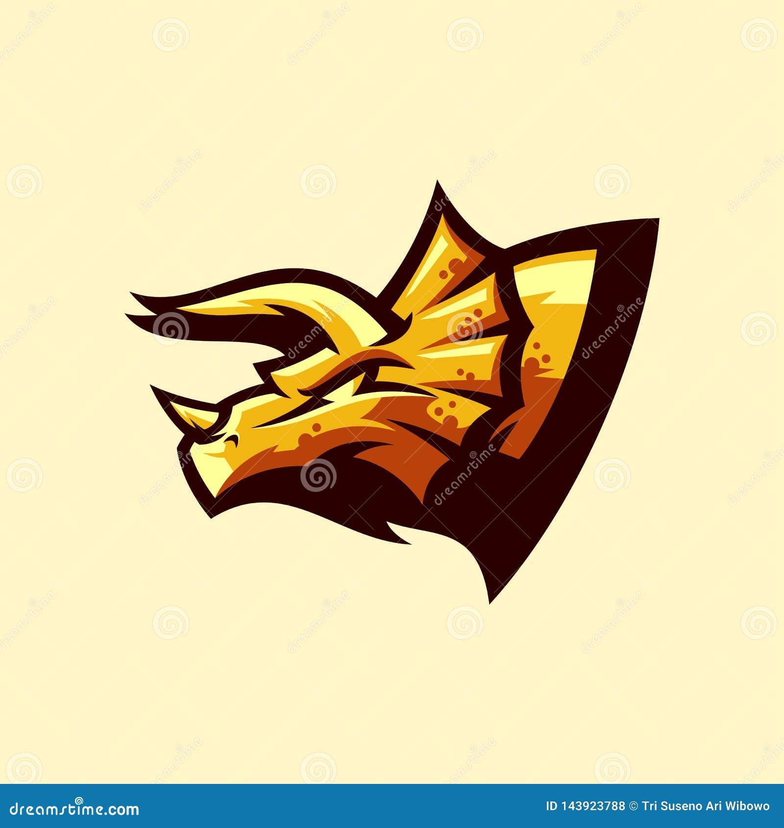 Diseño del logotipo del Triceratops listo para utilizar