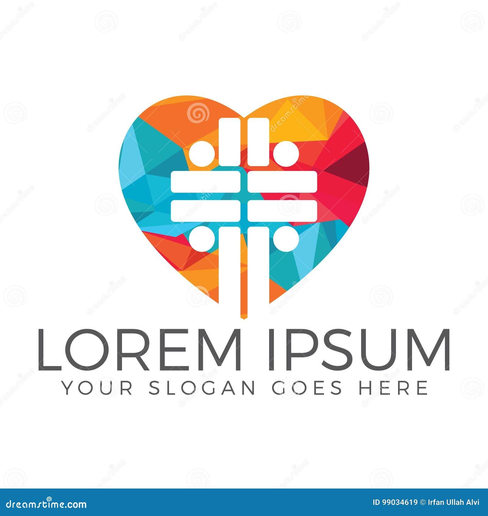 Diseño del logotipo del vector de la iglesia de la gente Logotipo de la forma del corazón