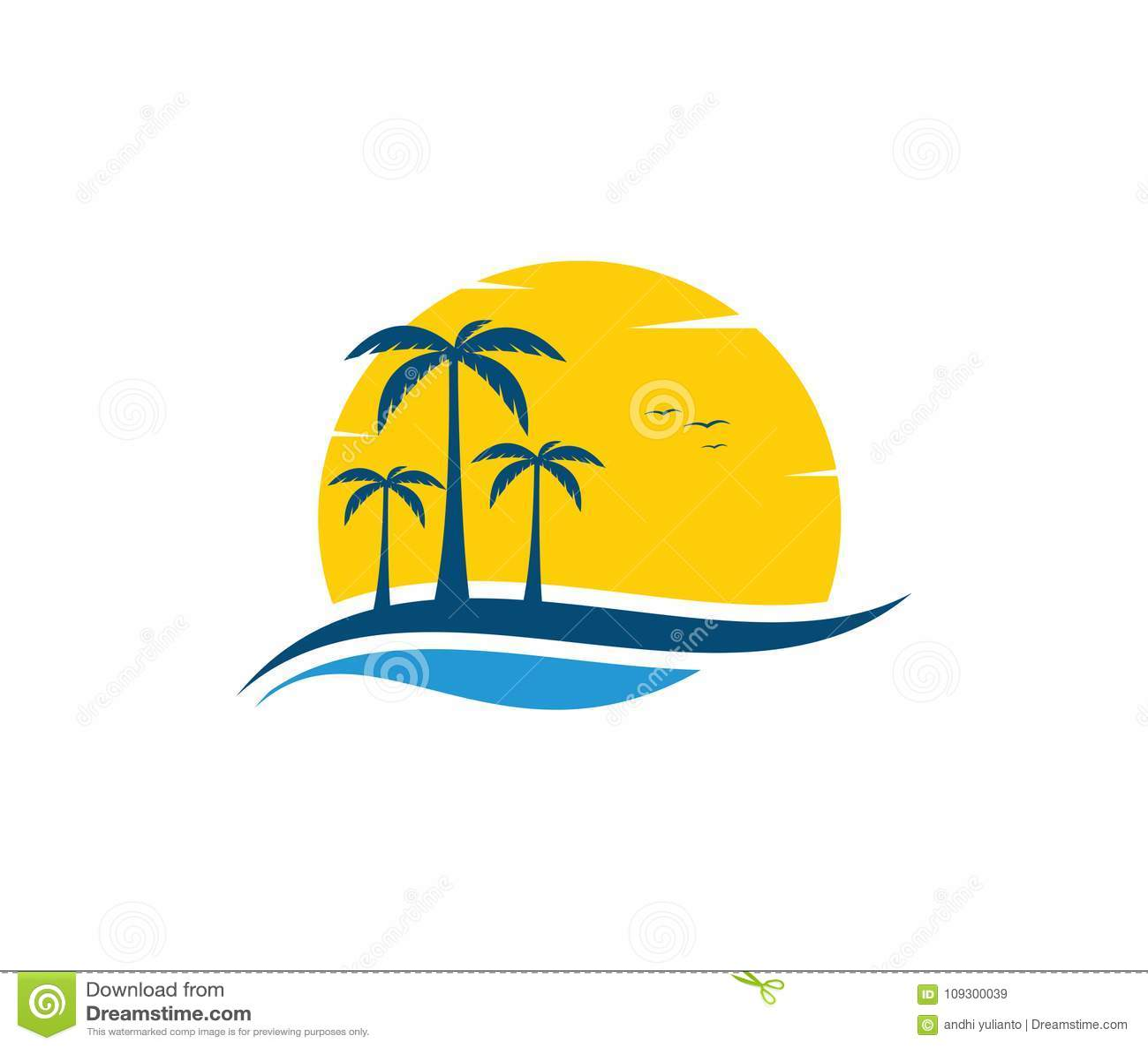 Diseño del logotipo del vector de turismo de la navegación del verano de la playa de la agua de mar del océano