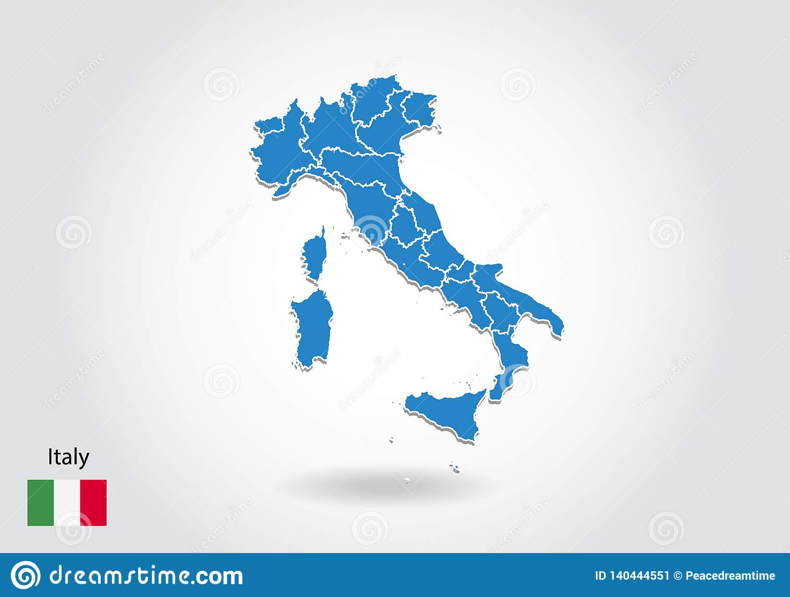 Diseño del mapa de Italia con el estilo 3D Mapa azul de Italia y bandera nacional Mapa simple del vector con el contorno, forma,