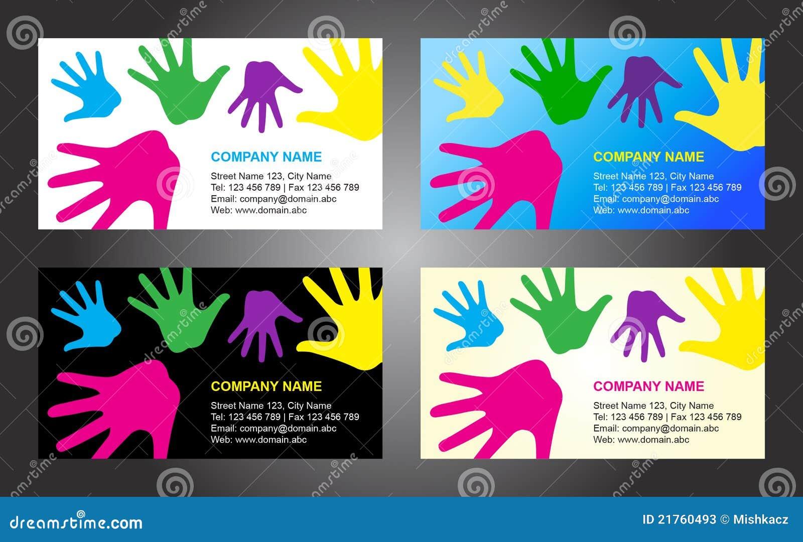 Diseño del modelo de la tarjeta de visita de las manos