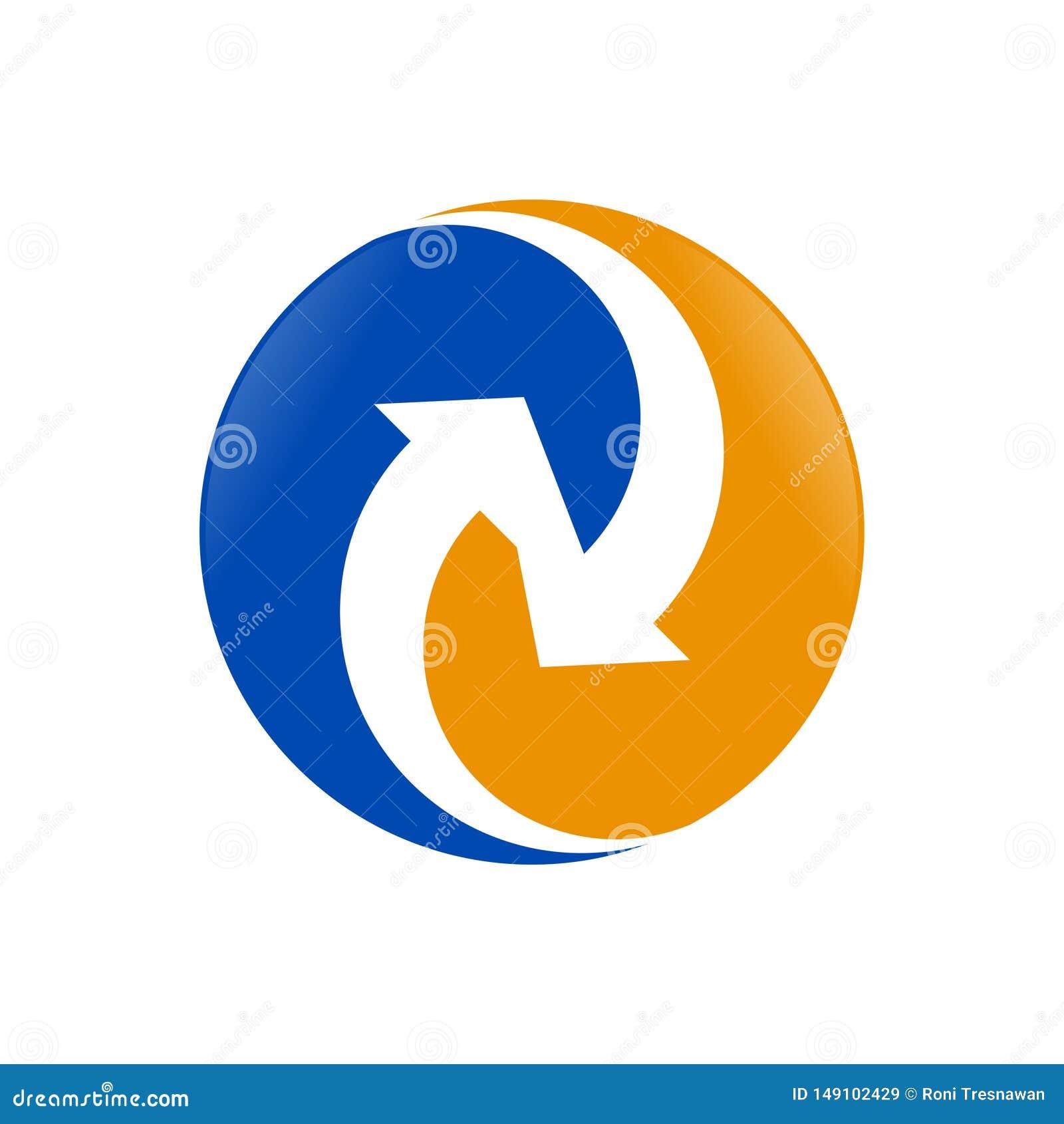 Diseño del símbolo del círculo de la conexión del flujo del intercambio