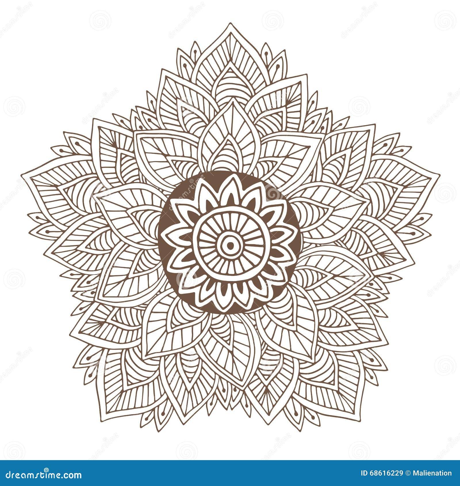 Diseño Del Tatuaje De La Mandala O De La Alheña Del Vector Ronda