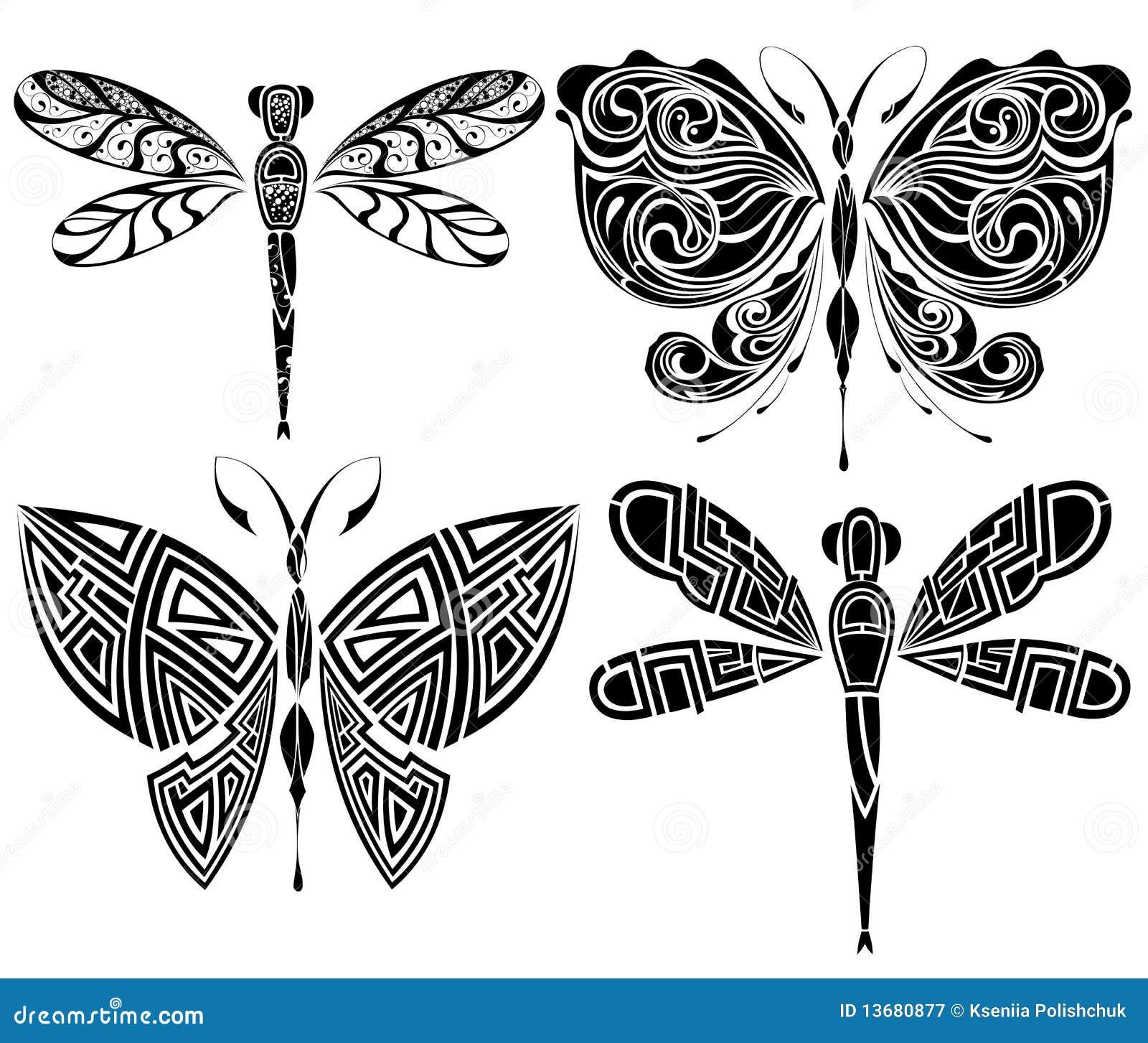 Diseño Del Tatuaje Mariposa Libélula Ilustraciones Stock, Vectores ...