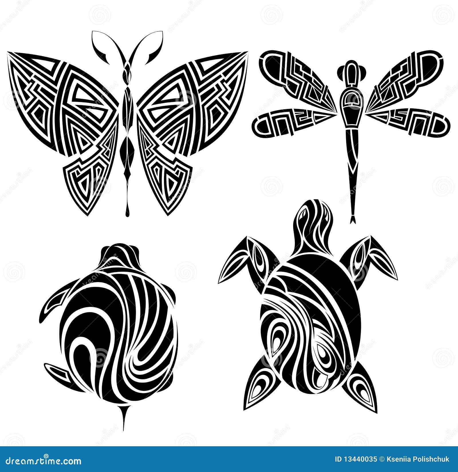 Diseño Del Tatuaje. Mariposa, Tortuga, Libélula Ilustración del ...