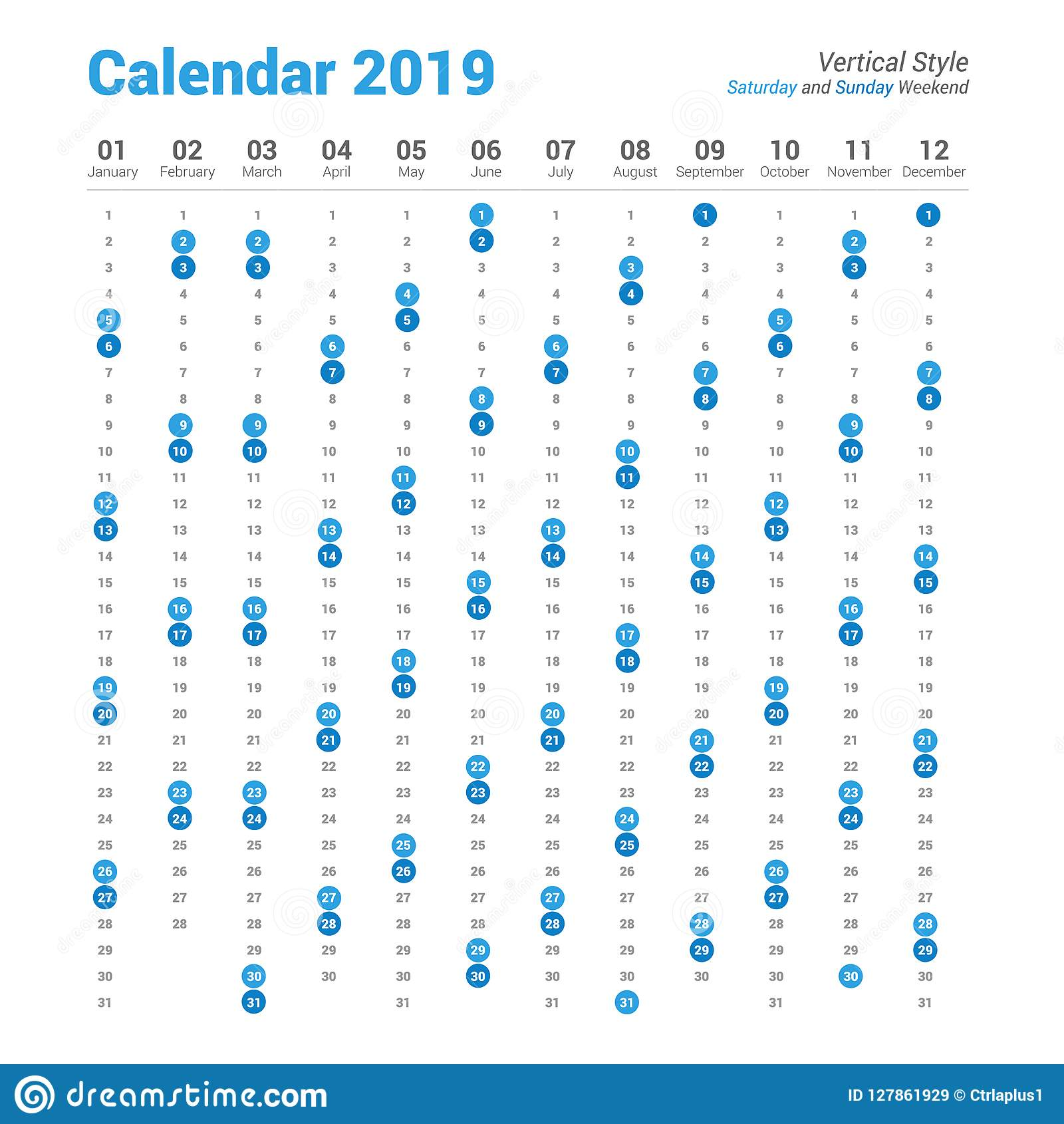 Calendario Fin De Semana 2019.Diseno Del Vector Del Calendario De La Vertical 2019 Fin De