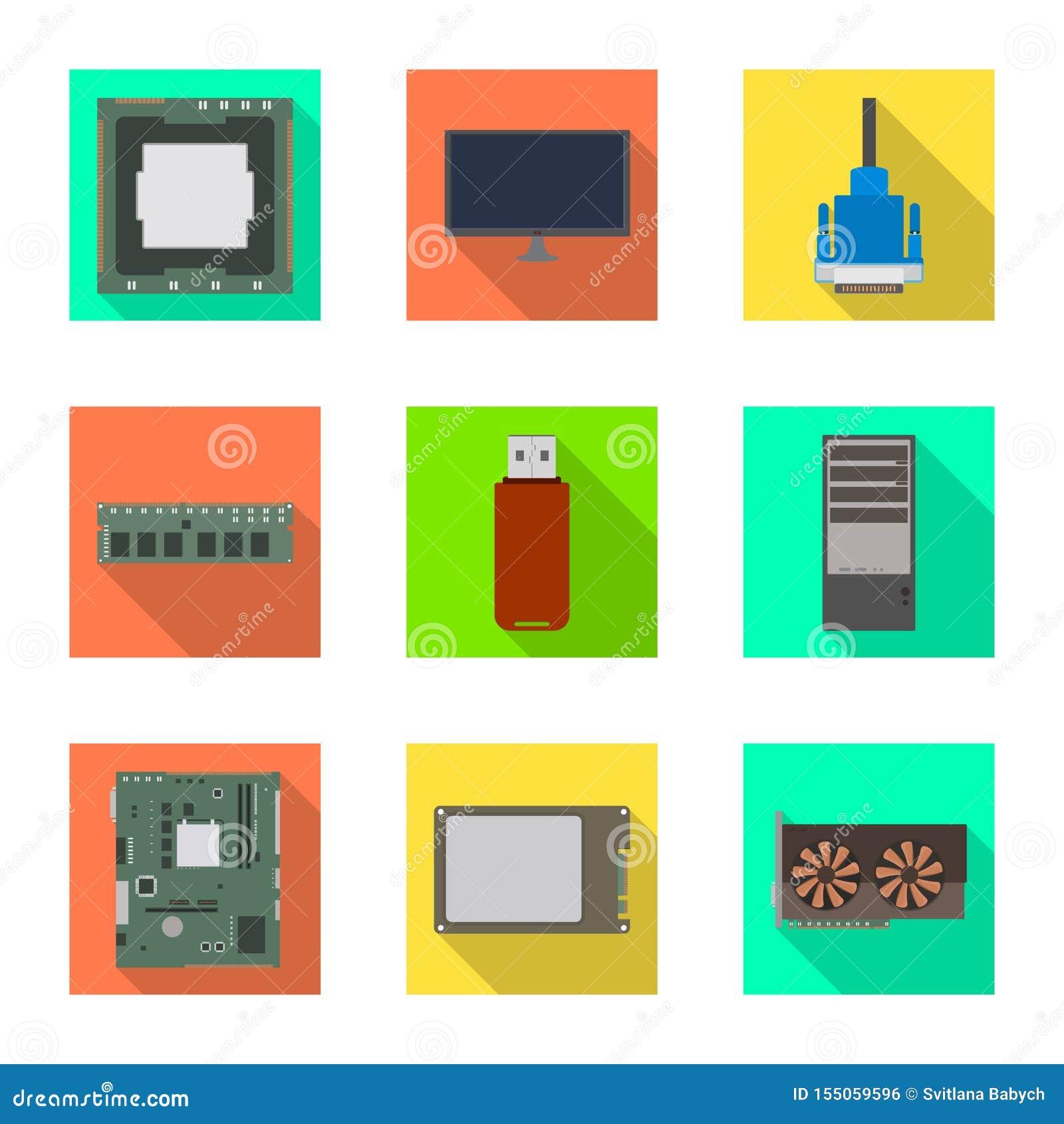 Diseño del vector de accesorios y de icono del dispositivo Fije de accesorios y del símbolo común de la electrónica para la web