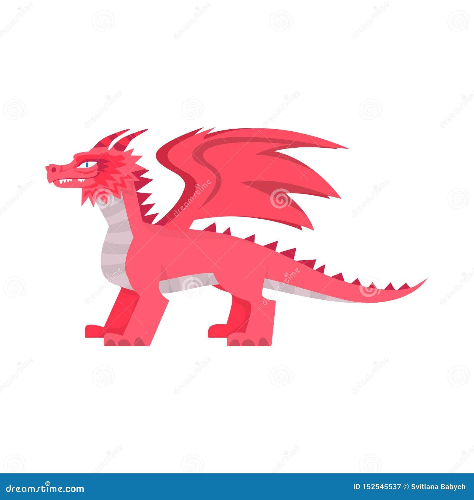 Diseño del vector de dragón y de muestra de la fantasía Colección de dragón y de ejemplo común rojo del vector