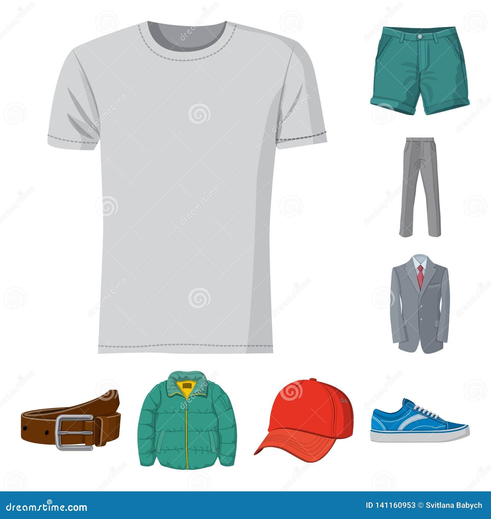Diseño del vector de icono del hombre y de la ropa Colección de hombre y de ejemplo común del vector del desgaste