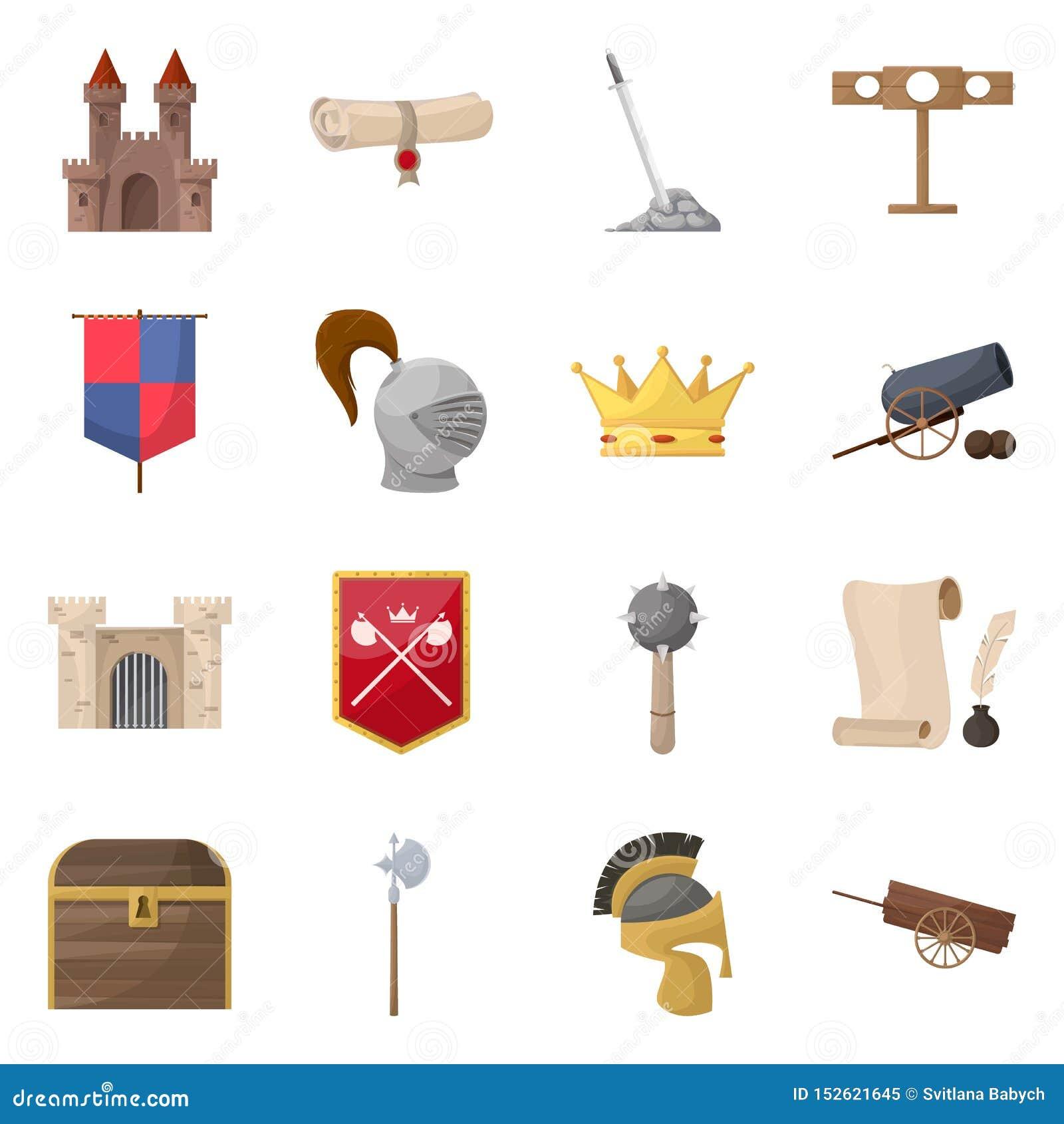 Diseño del vector de icono medieval y de la historia Colección de icono medieval y del torneo del vector para la acción