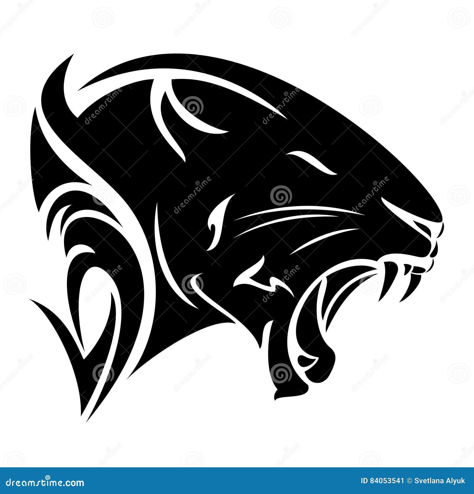 dise241o del vector de la cabeza del perfil de la pantera