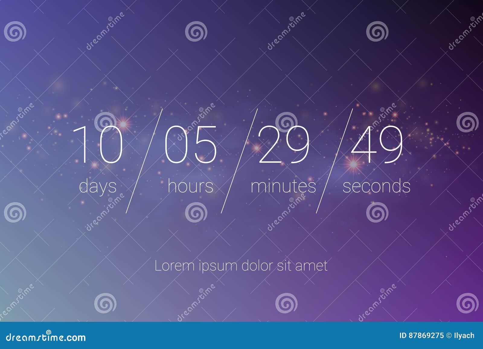 Diseño del vector de la plantilla del sitio web del contador de tiempo del reloj de la cuenta descendiente