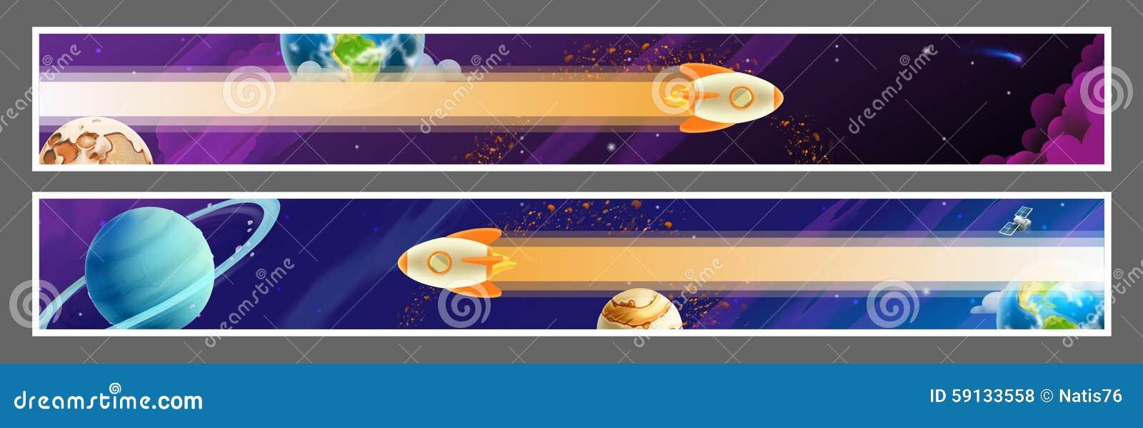 Diseño del vector de las banderas del espacio