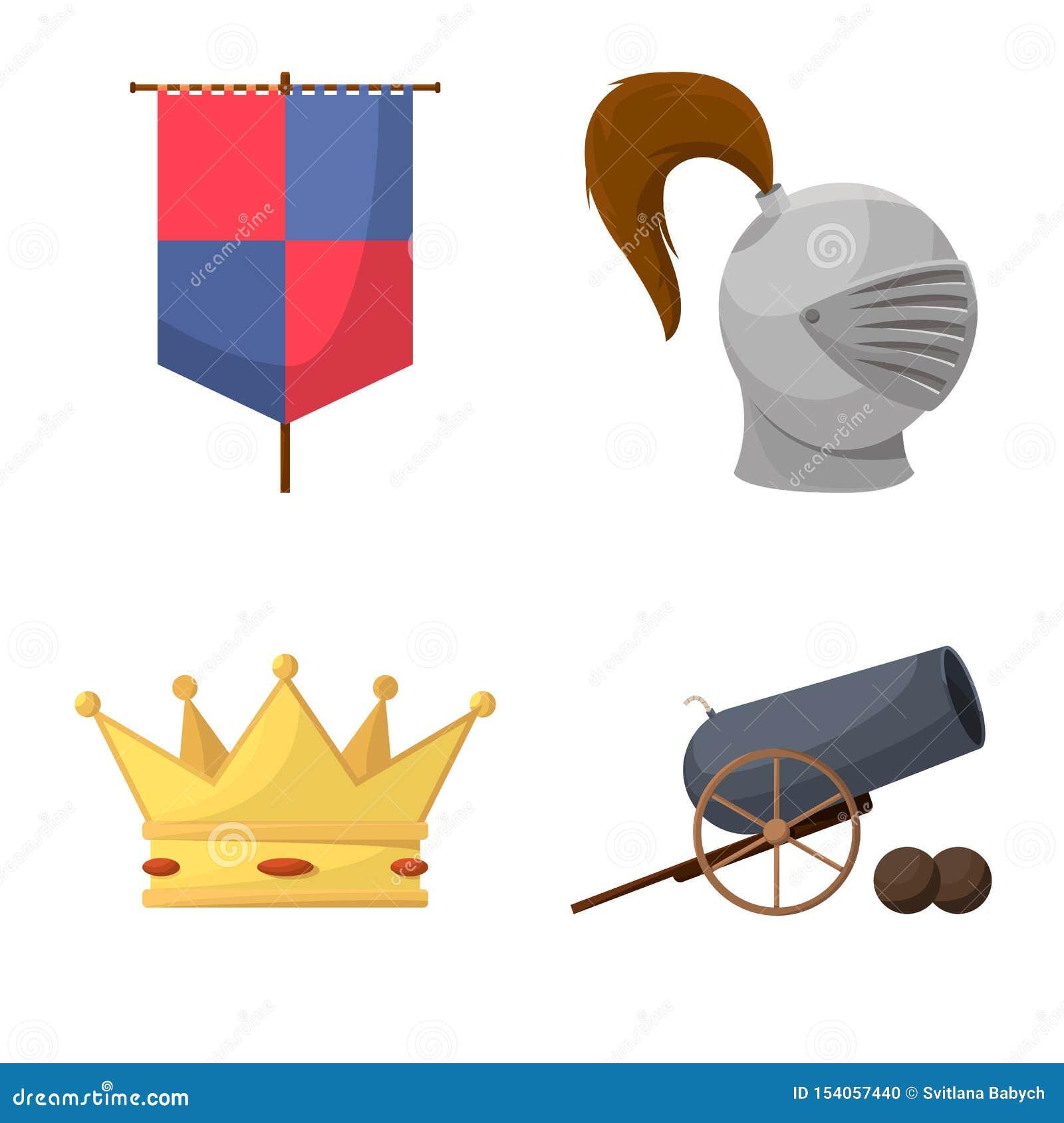 Diseño del vector de logotipo medieval y de la historia Colección de símbolo común medieval y del torneo para la web