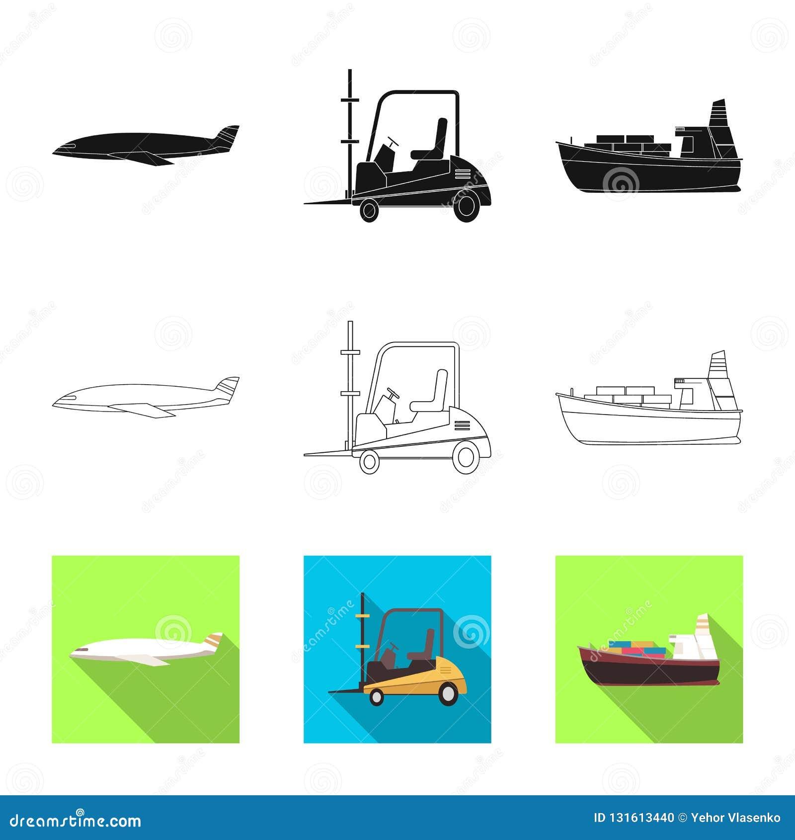 Diseño del vector de mercancías y de logotipo del cargo Colección de mercancías e icono del vector del almacén para la acción