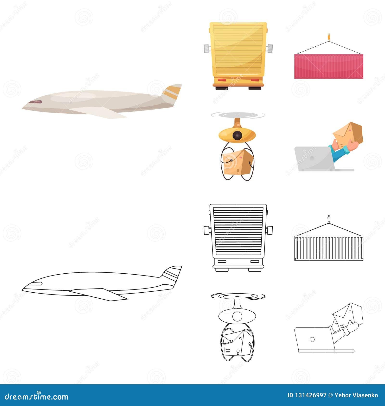 Diseño del vector de mercancías y de logotipo del cargo Sistema de mercancías y del ejemplo común del vector del almacén