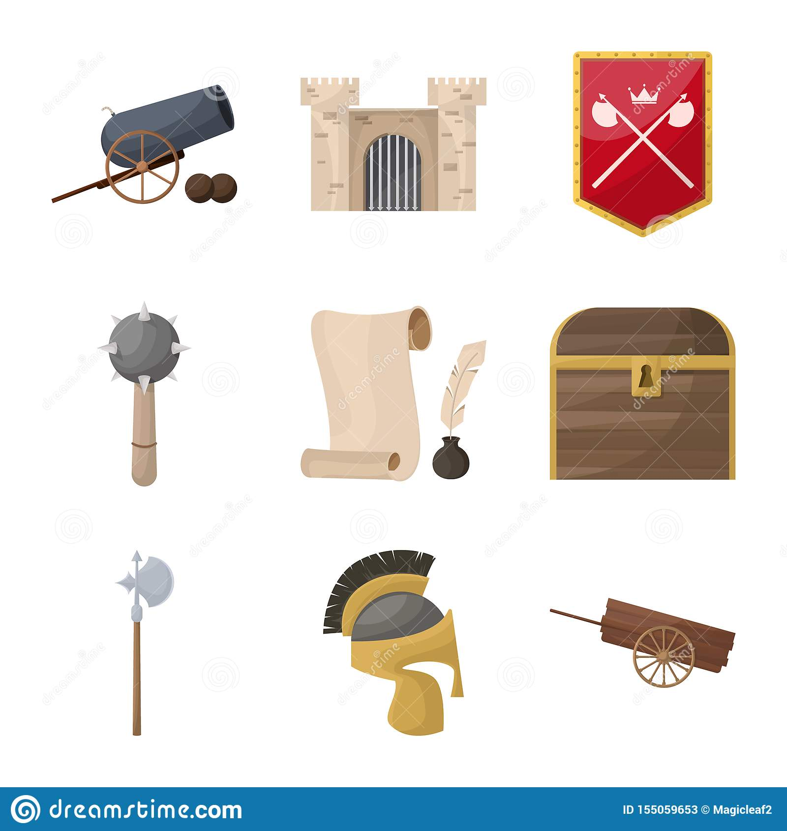 Diseño del vector de muestra medieval y de la historia Colección de ejemplo medieval y del torneo de la acción del vector