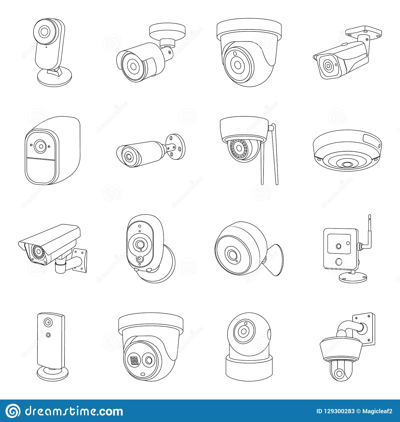 Diseño del vector de símbolo del cctv y de la cámara Sistema del cctv e icono del vector del sistema para la acción