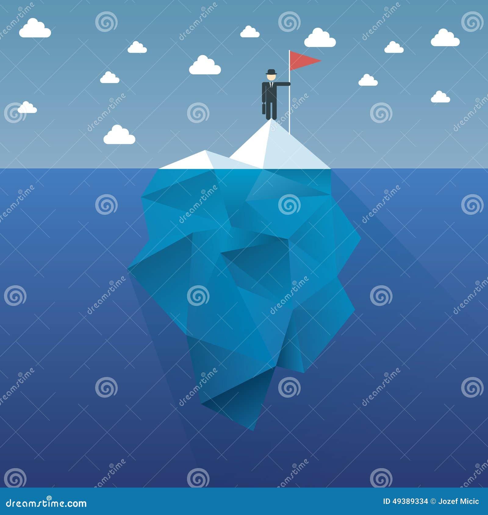 Diseño del vector del concepto del iceberg del polígono con