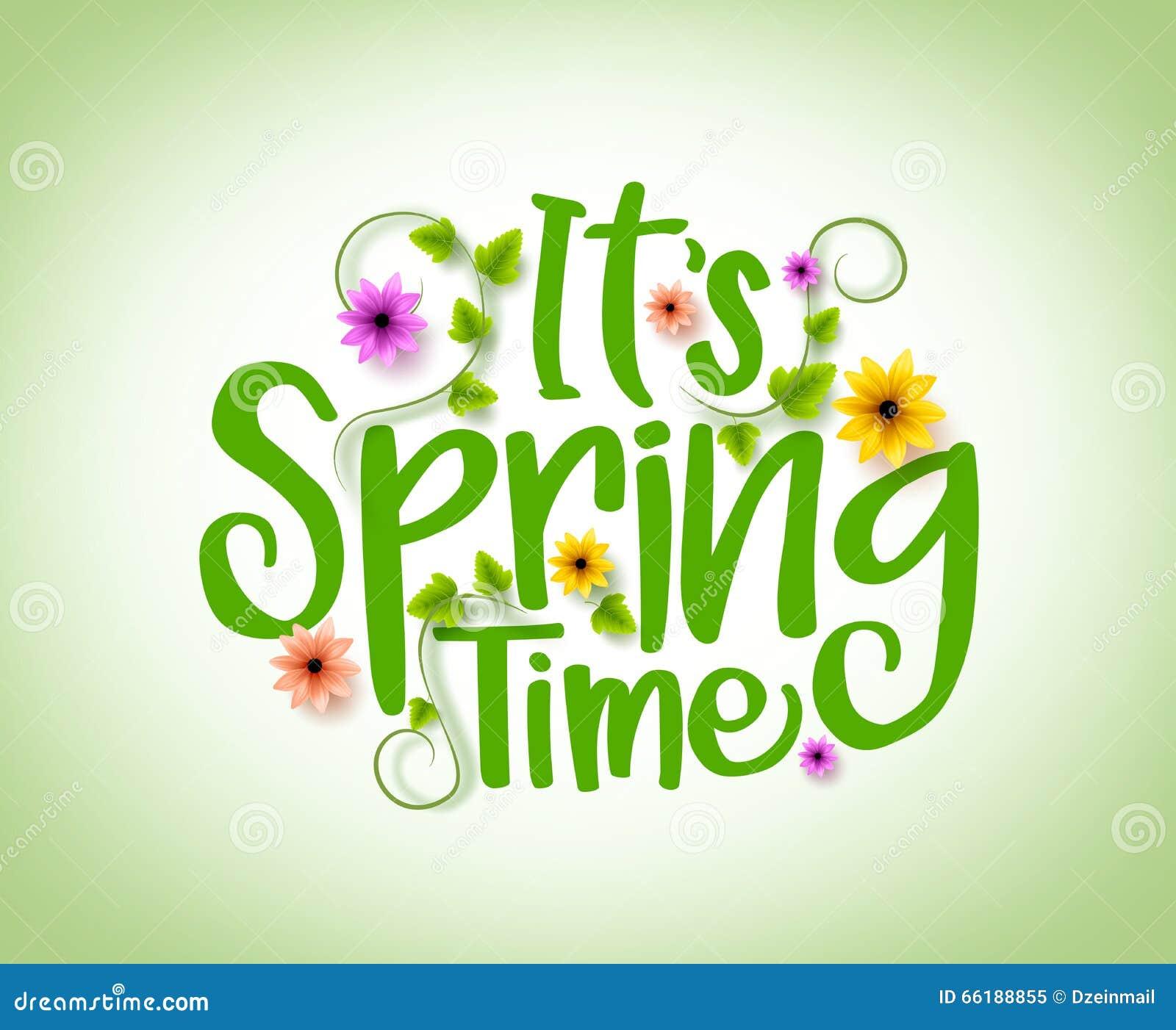Diseño del vector del tiempo de primavera con los elementos frescos realistas de las plantas 3D y de las flores