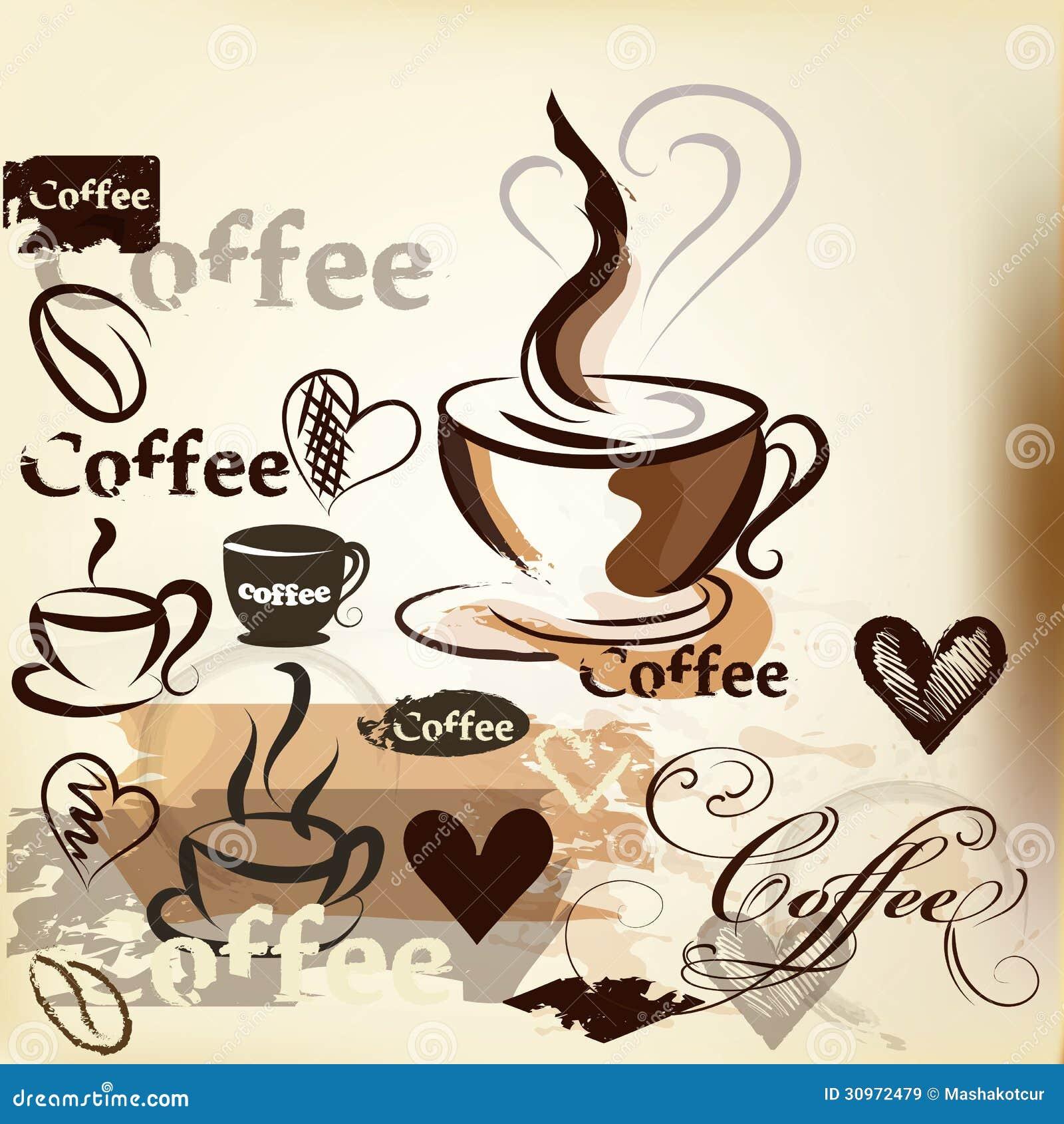 Dise o del vector del vintage del grunge del caf con las tazas de caf granos ilustraci n del - Tazas de cafe de diseno ...