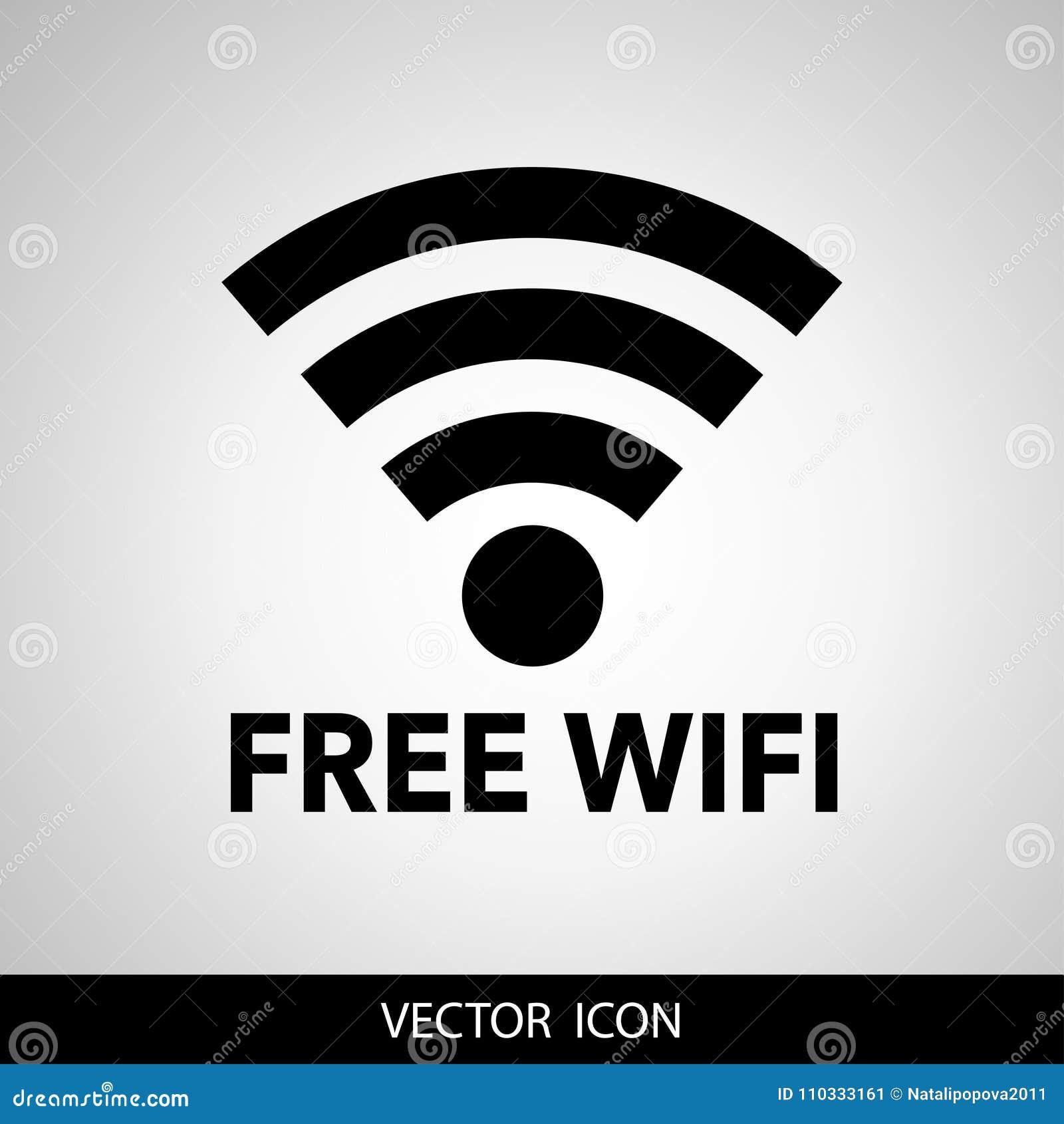 Diseño del vector del negro libre del wifi e icono en Internet modernos grises del smartphone Icono negro aislado en un fondo gri