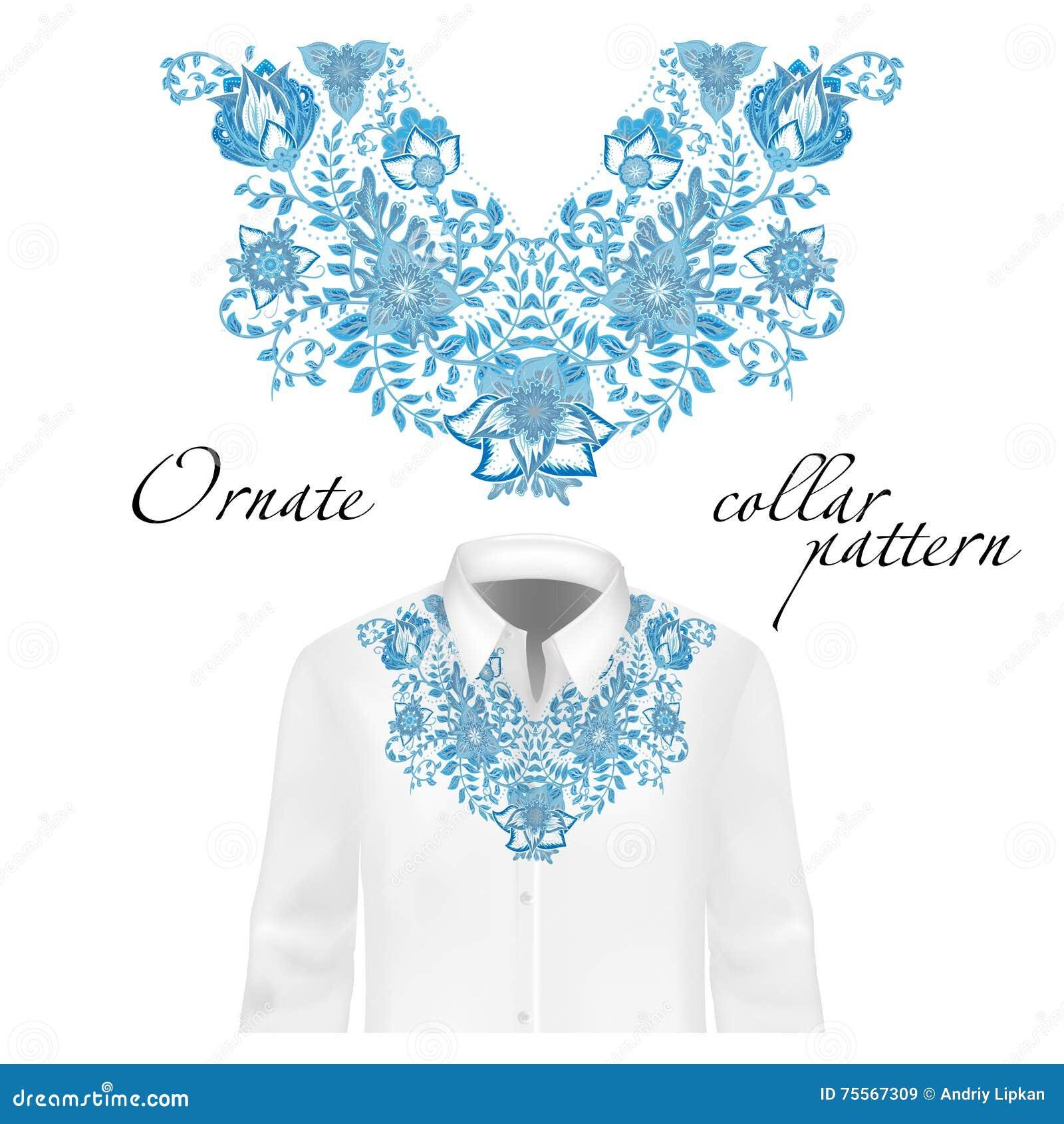 Diseño del vector para las camisas del cuello, blusas Cuello étnico colorido de las flores