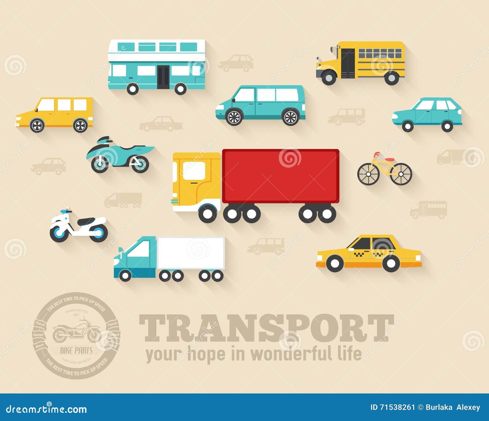 Diseño determinado del ejemplo de los fondos del icono del concepto de los coches planos Plantilla para el web y el móvil